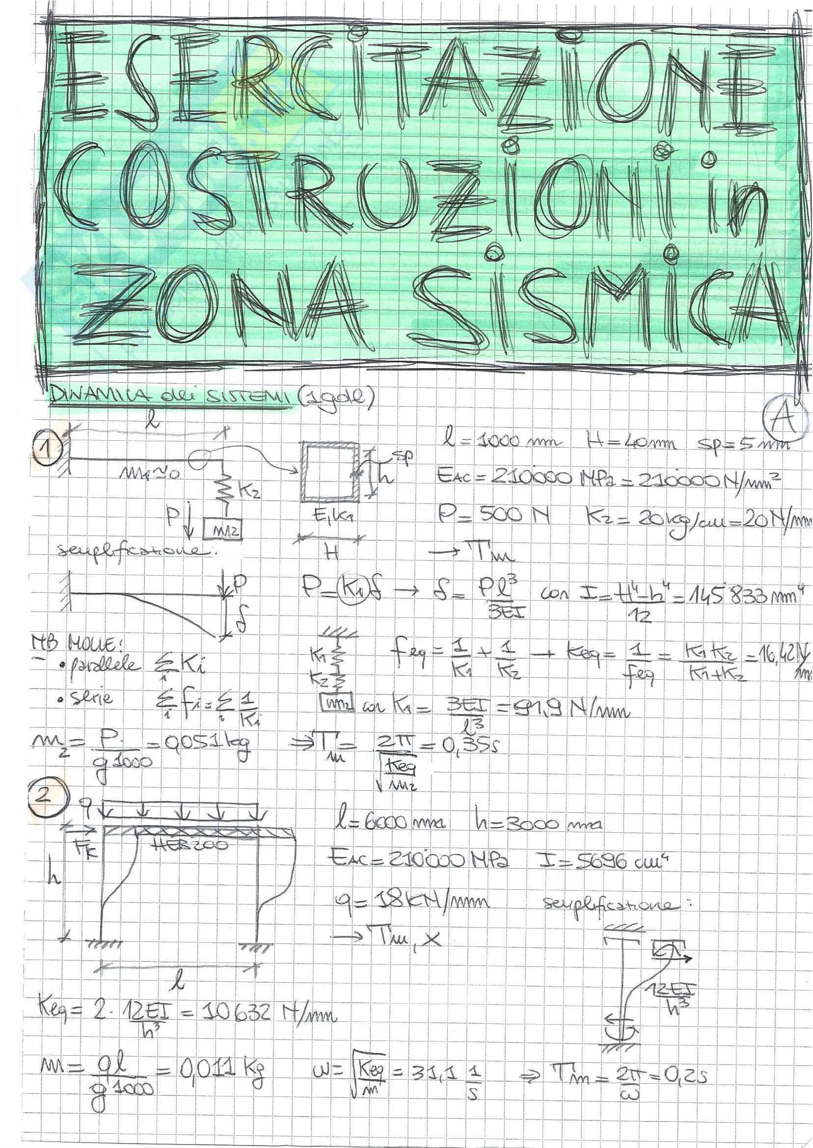 Costruzioni In Zona Sismica - Esercizi
