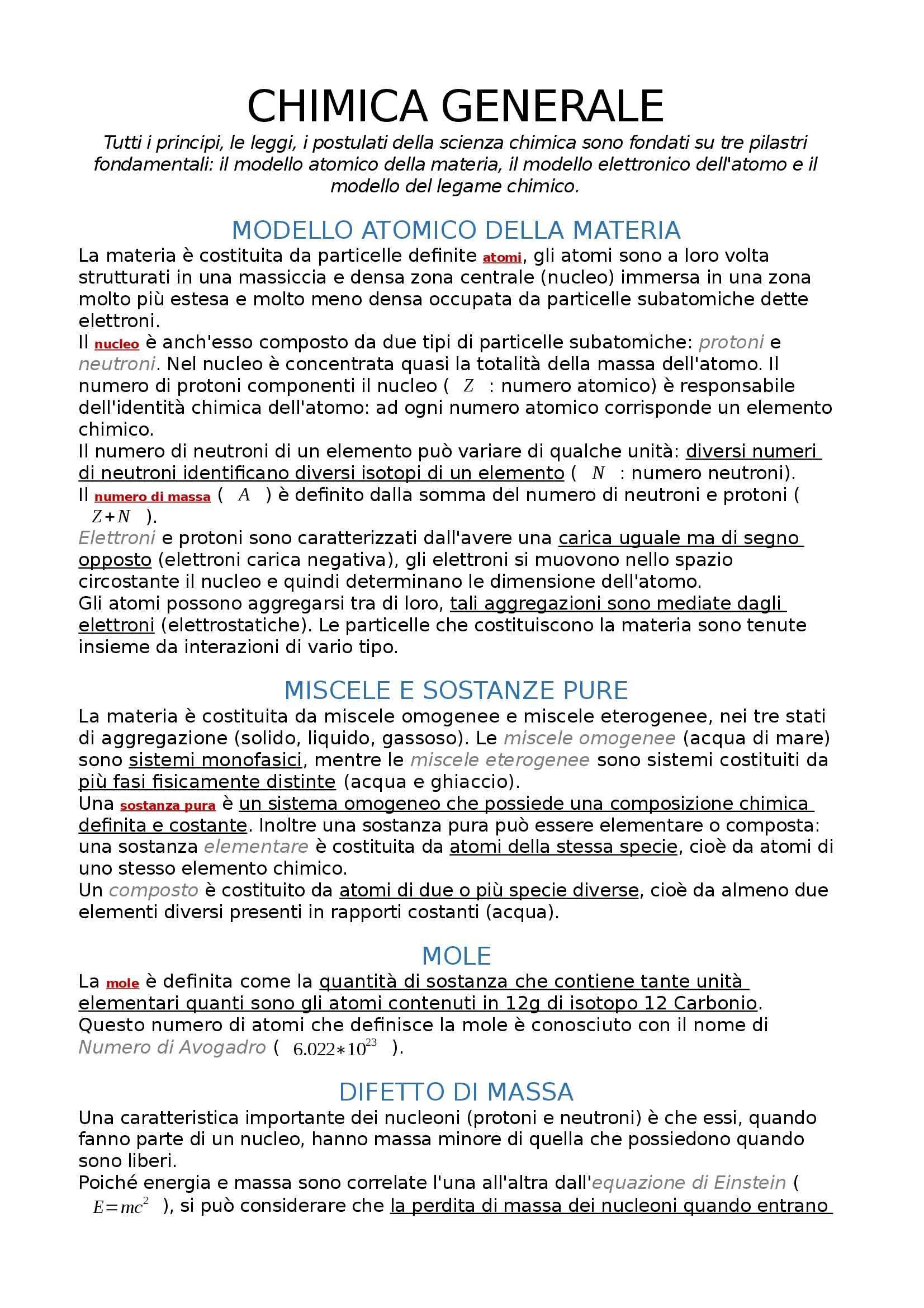 appunto S. Alessandri Chimica generale  e inorganica