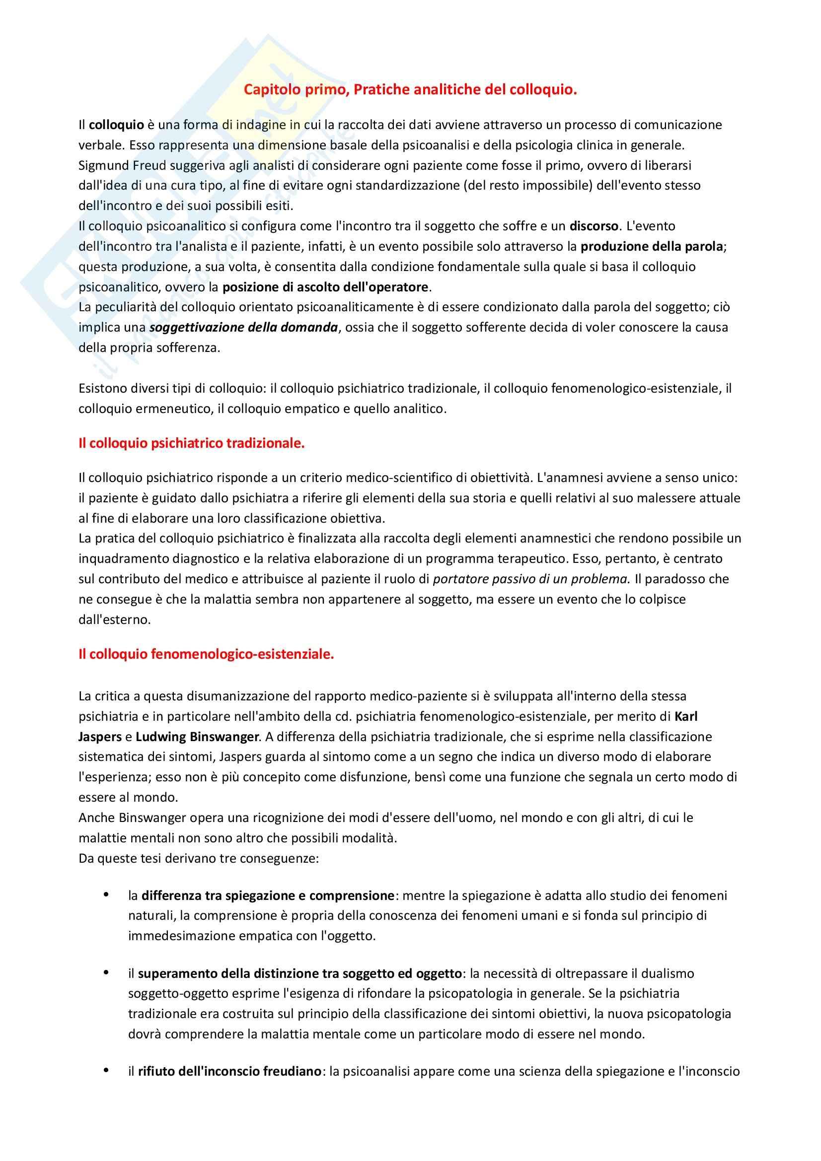 Riassunto esame Psicologia Clinica, prof. Lo Castro, libro consigliato La Cura della Malattia Mentale: Il Trattamento, Recalcati