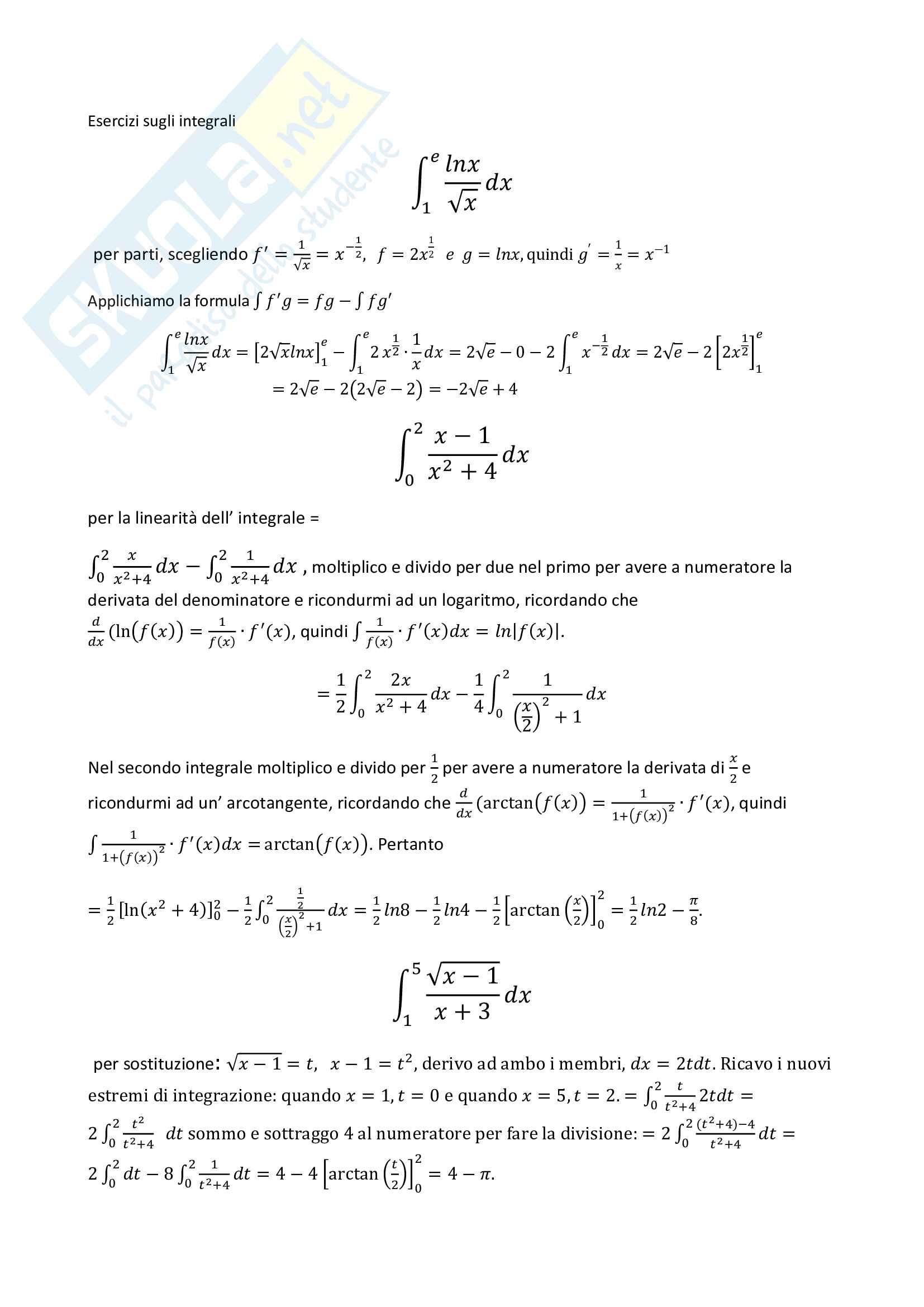 Analisi 1: Esercizi sugli integrali Prof. S. Gatti