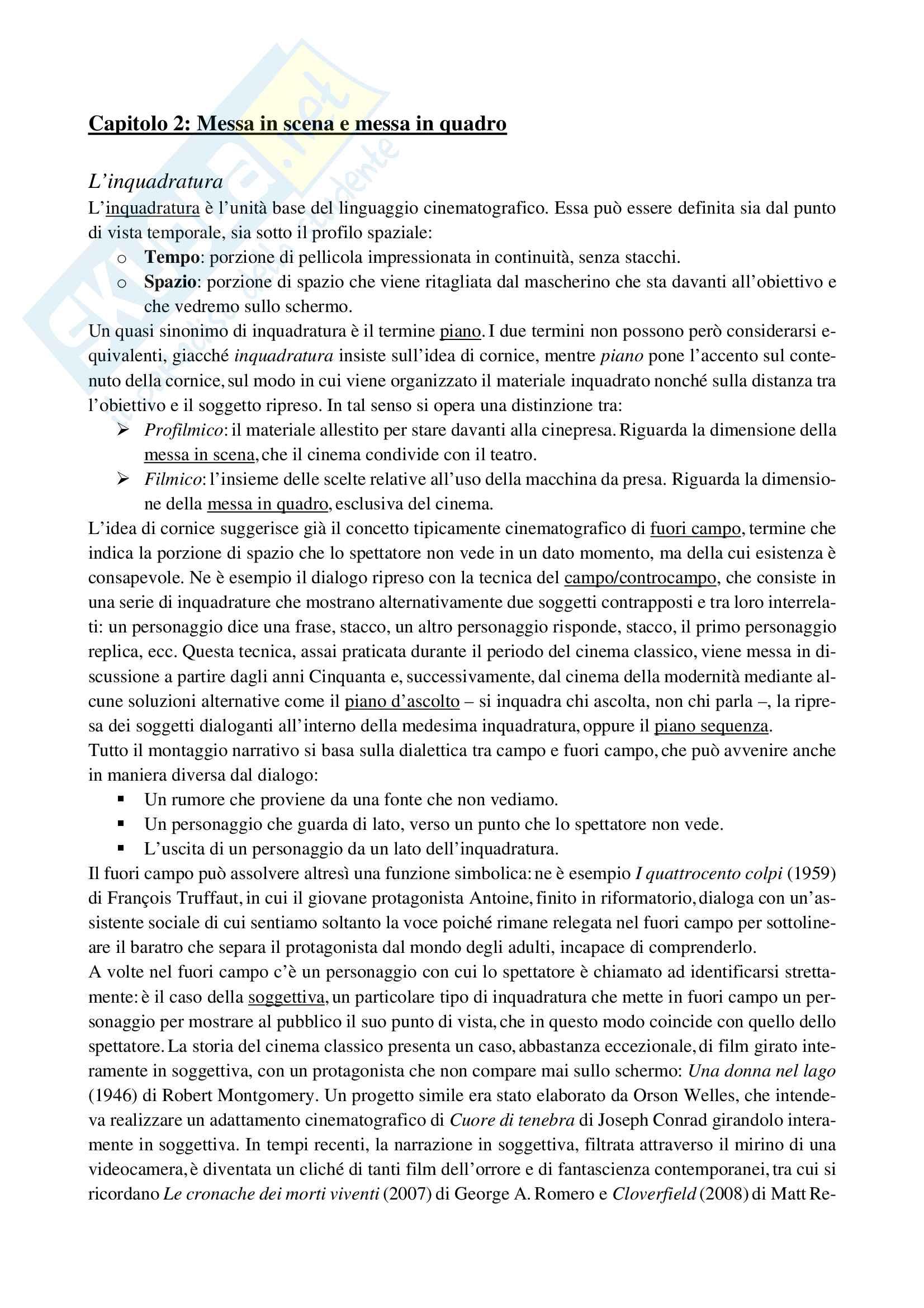 """Riassunto Storia del cinema, Prof. Alonge, libro consigliato """"Il cinema. Tecnica e linguaggio"""" di Giaime Alonge Pag. 11"""