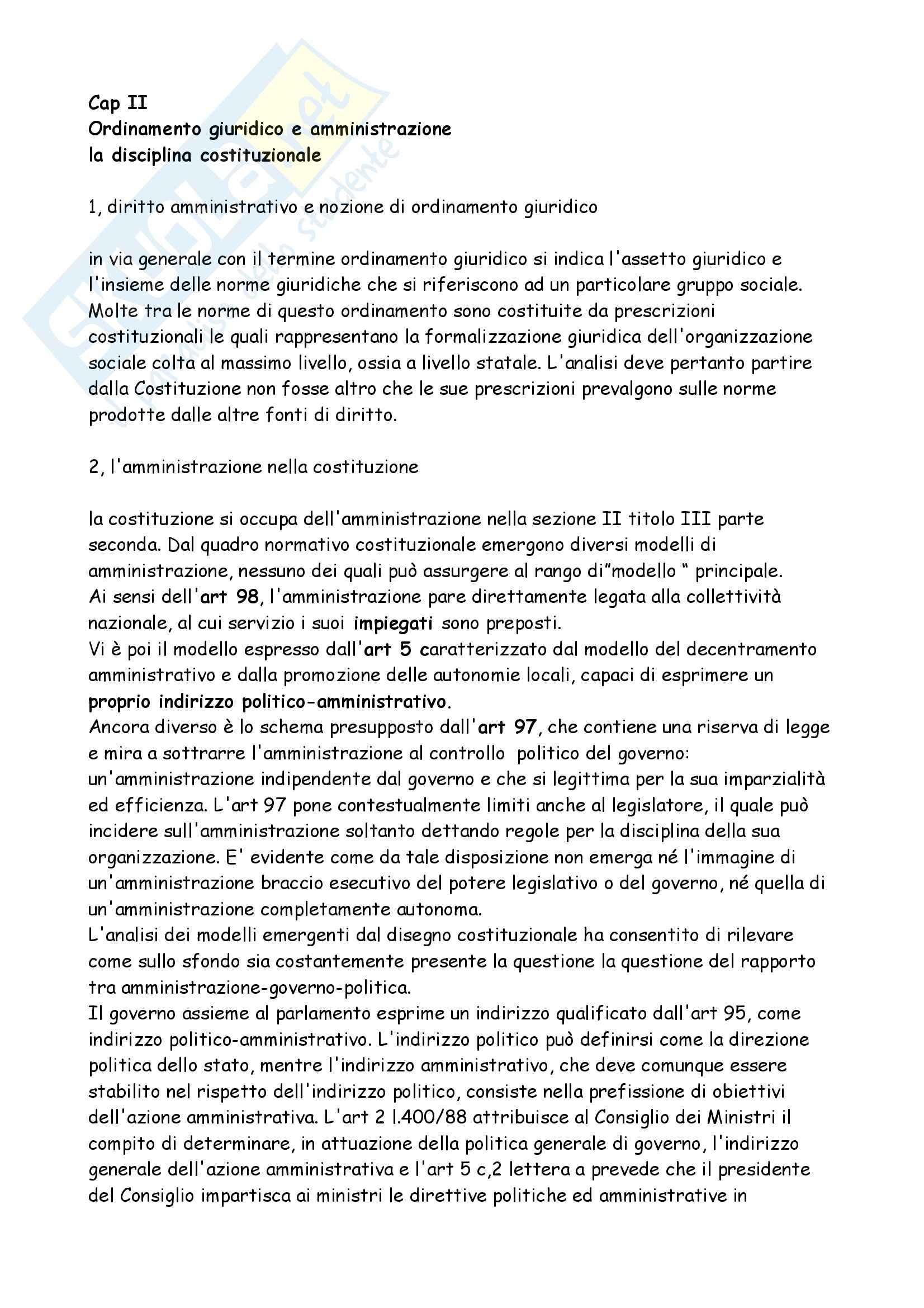 Diritto amministrativo - l'ordinamento giuridico e l'amministrazione