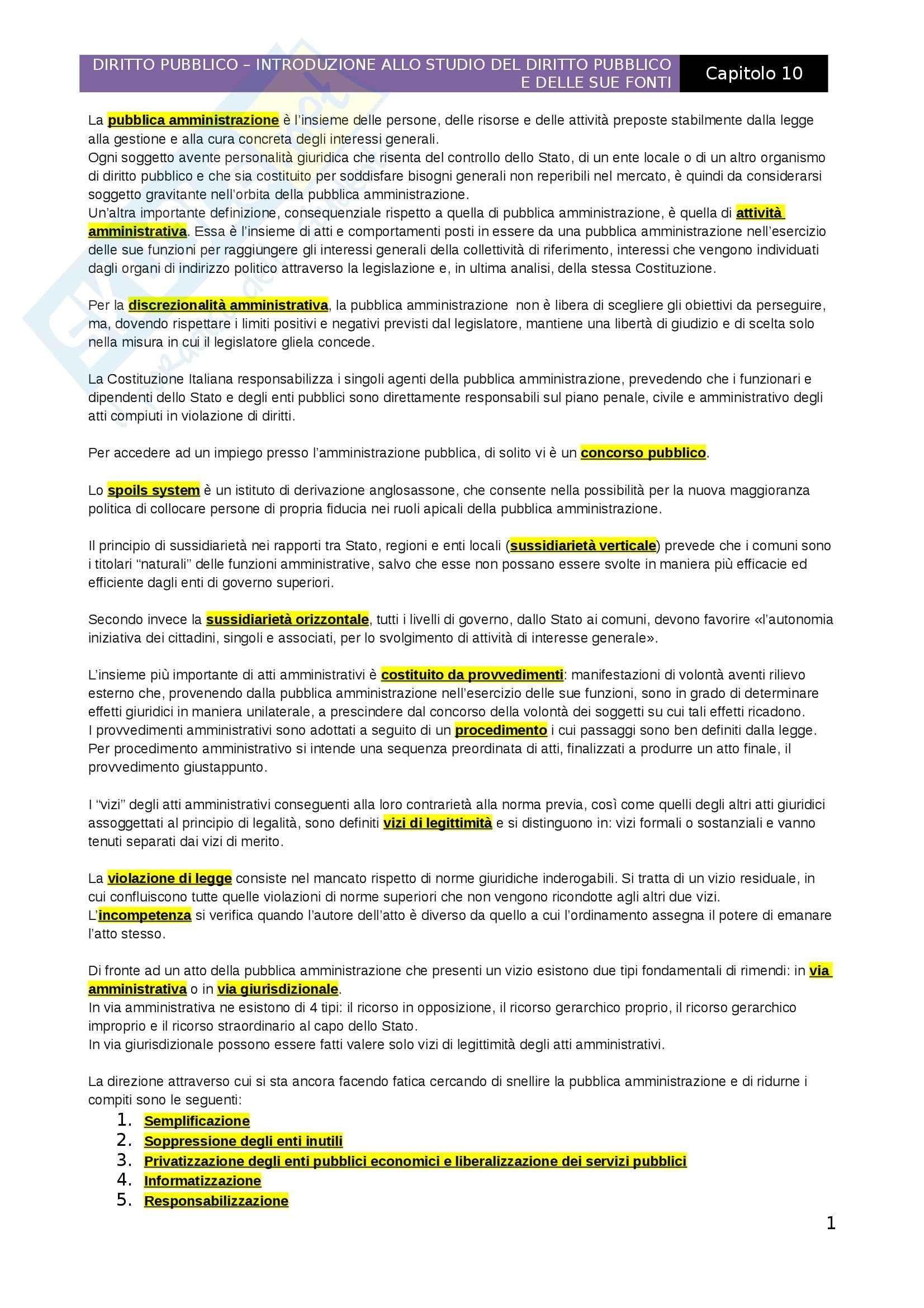 Introduzione allo studio del diritto pubblico e delle sue fonti, Capitolo 10