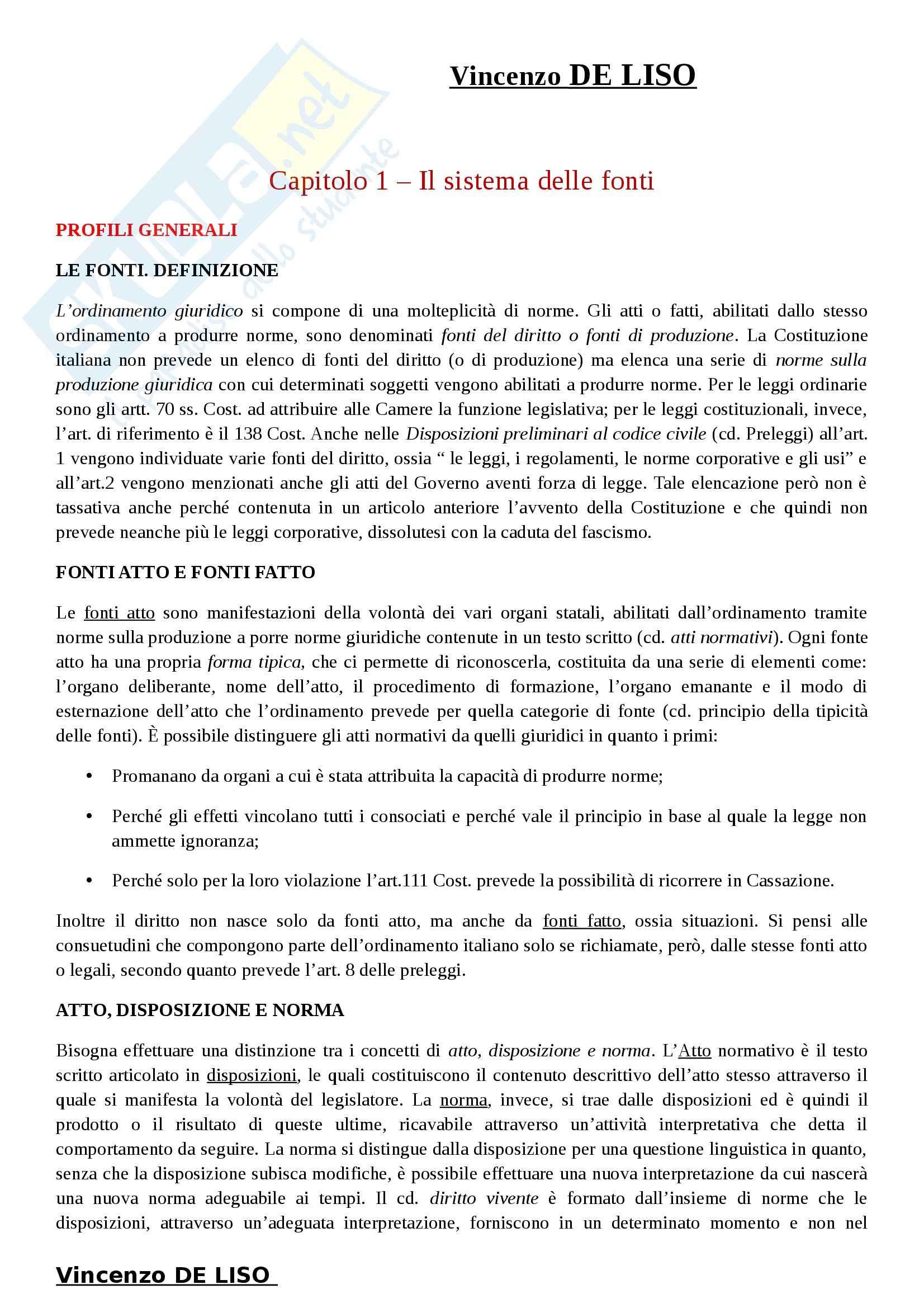 Riassunto esame Diritto Costituzionale, prof. Villone, libro consigliato La Costituzione italiana, Diddi Nardi, Coen