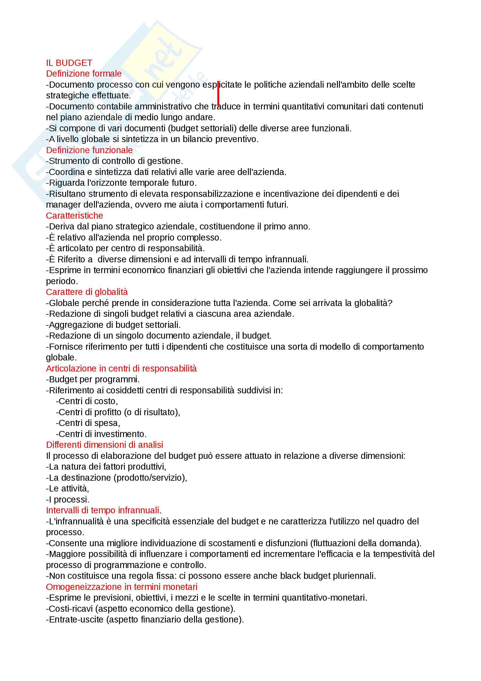 appunto M. Maraghini Programmazione e controllo di gestione
