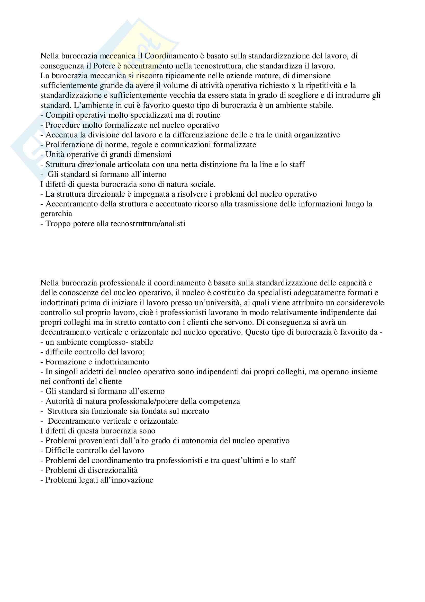 Organizzazione aziendale - Burocrazia mecanica e professionale