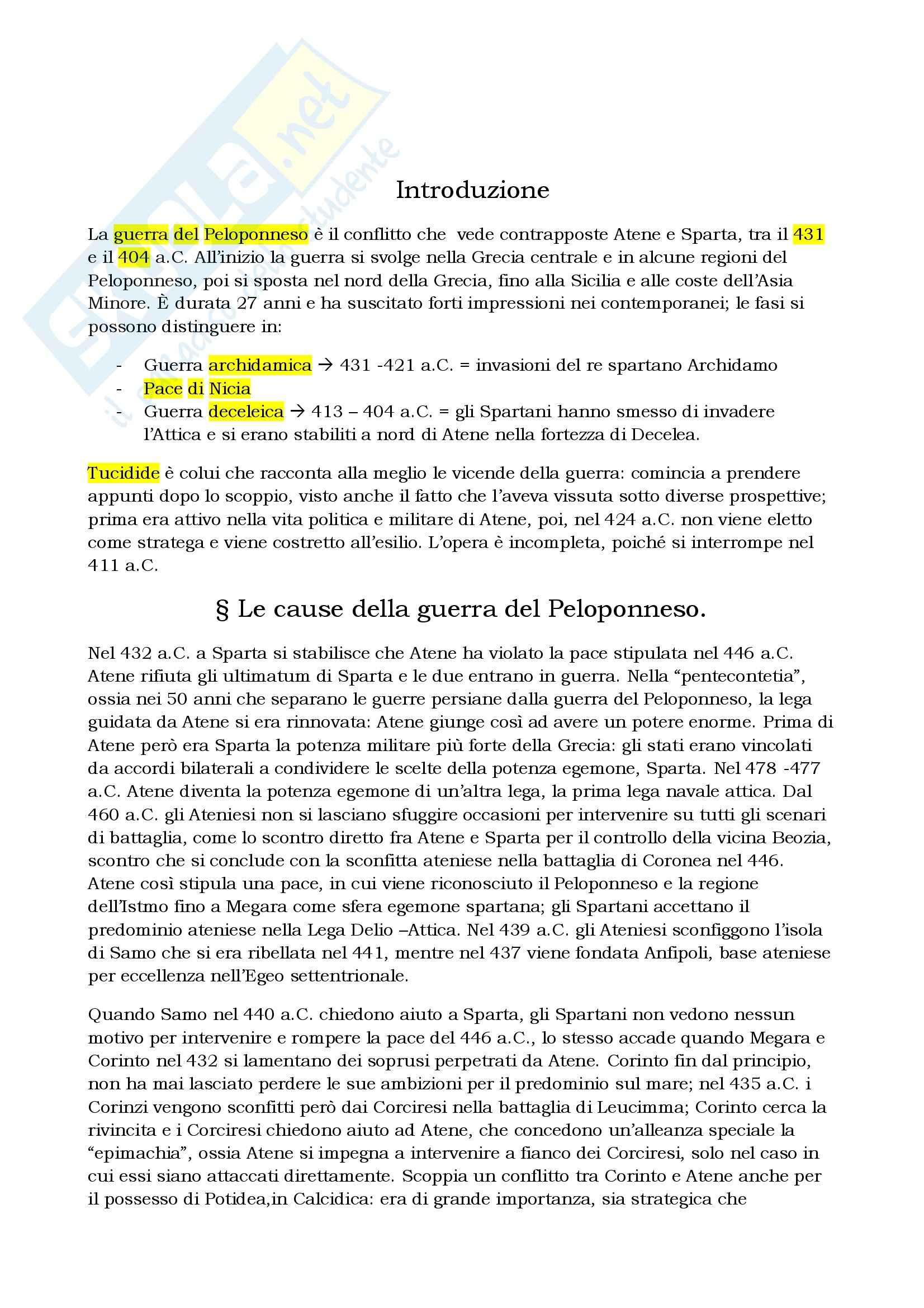 Riassunto esame Storia greca, prof. Berlinzani, libro consigliato La guerra del Peloponneso, Bleckmann