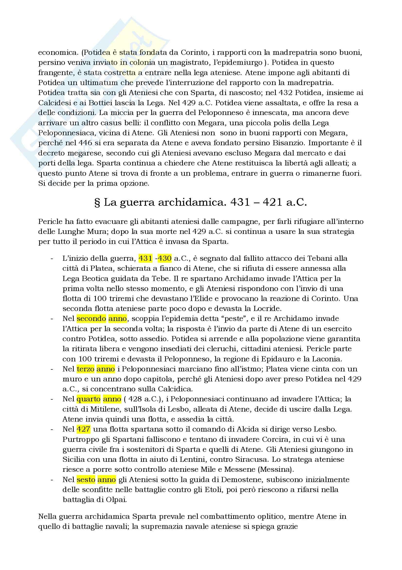 Riassunto esame Storia greca, prof. Berlinzani, libro consigliato La guerra del Peloponneso, Bleckmann Pag. 2