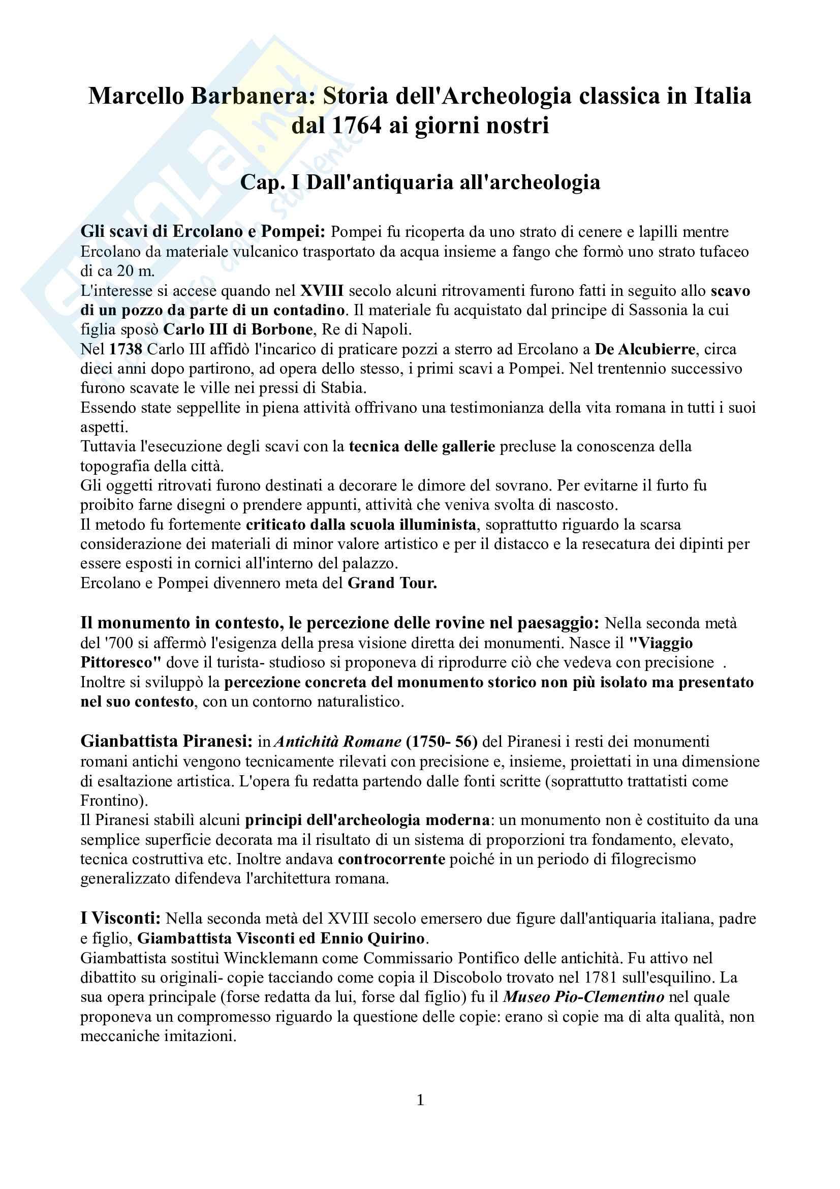 Riassunto esame Archeologia e storia dell'arte greca e romana, prof. Barbanera, libro consigliato Storia dell'archeologia classica, Barbanera