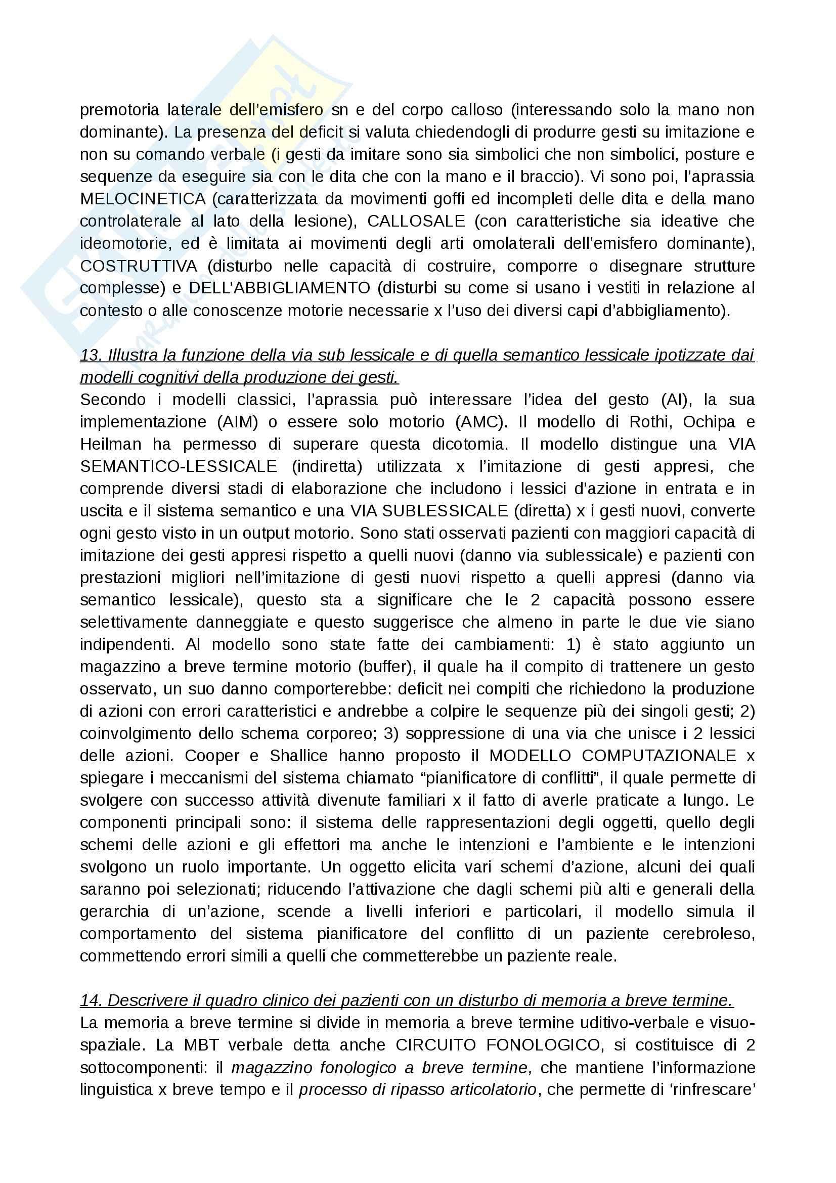 Neuroscienze - domande  e risposte Pag. 11