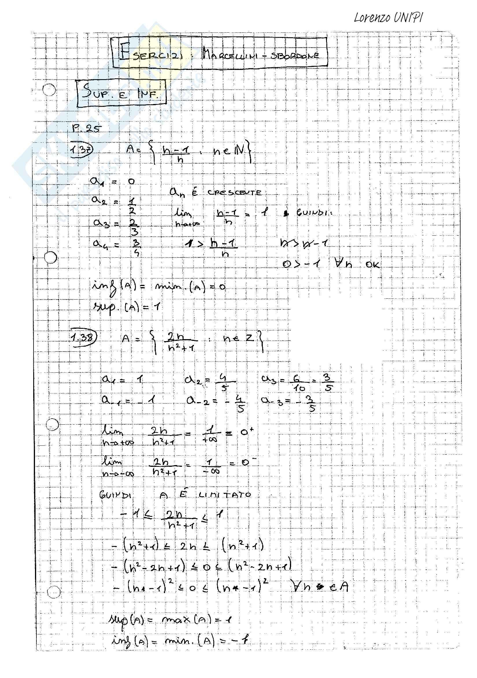 Esercizi svolti, Analisi Matematica uno