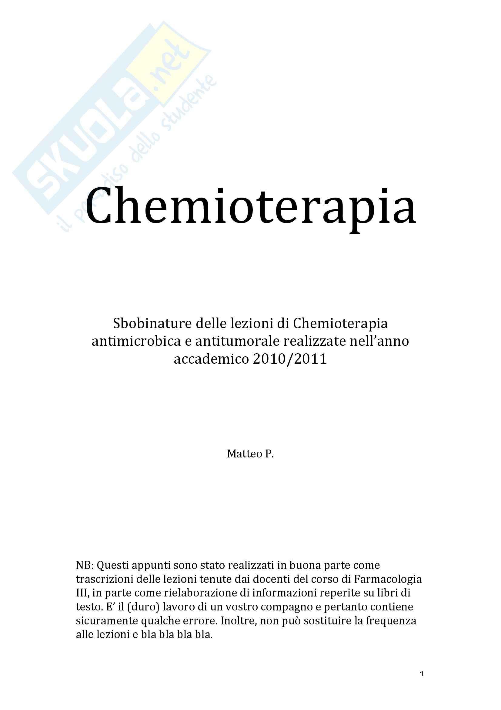 Sbobinature delle lezioni di Chemioterapia