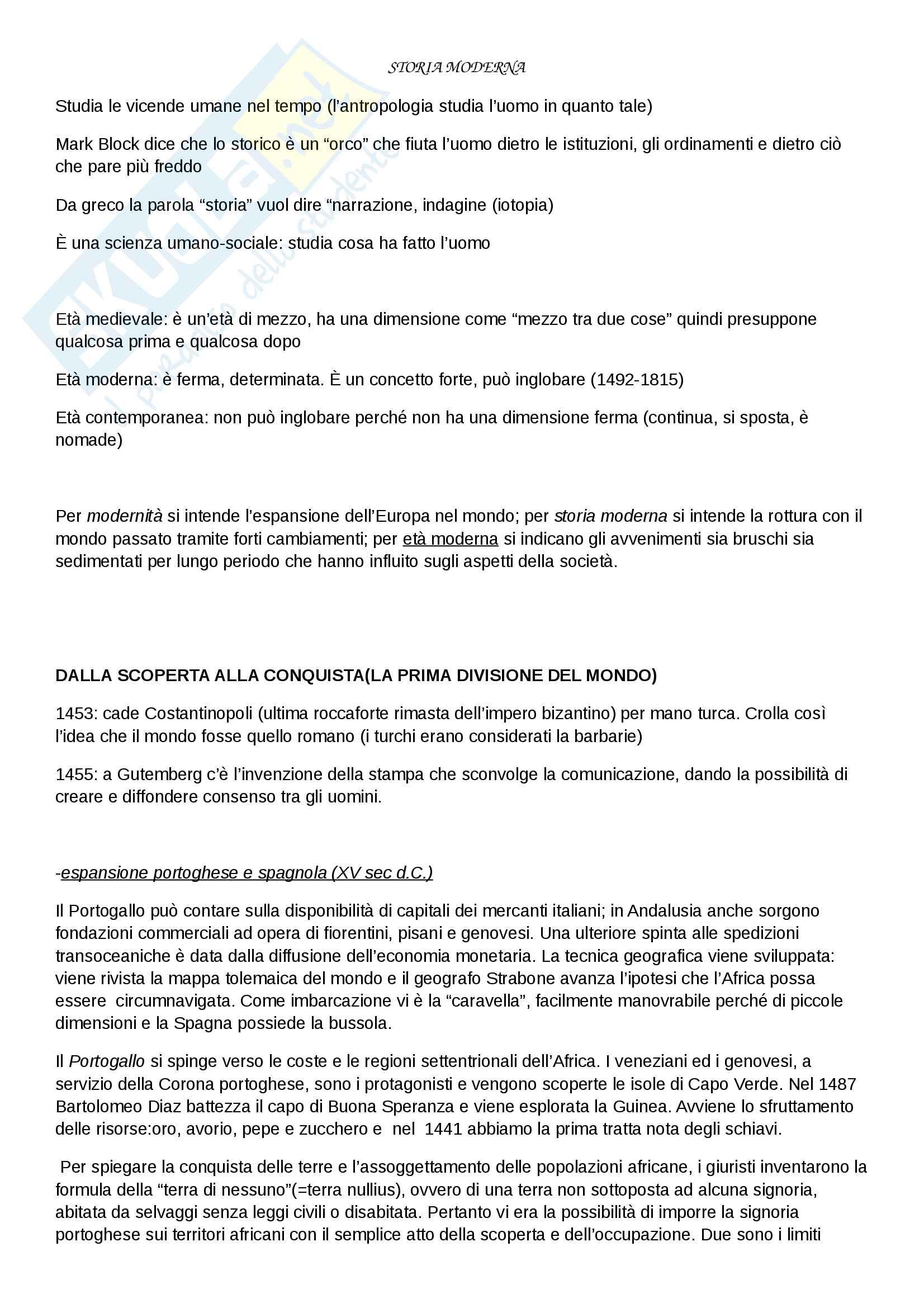 """Riassunto esame di Storia moderna, prof. Migliorini, libro consigliato """"Le vie della modernità"""" di Aurelio Musi, ed. Sansoni"""