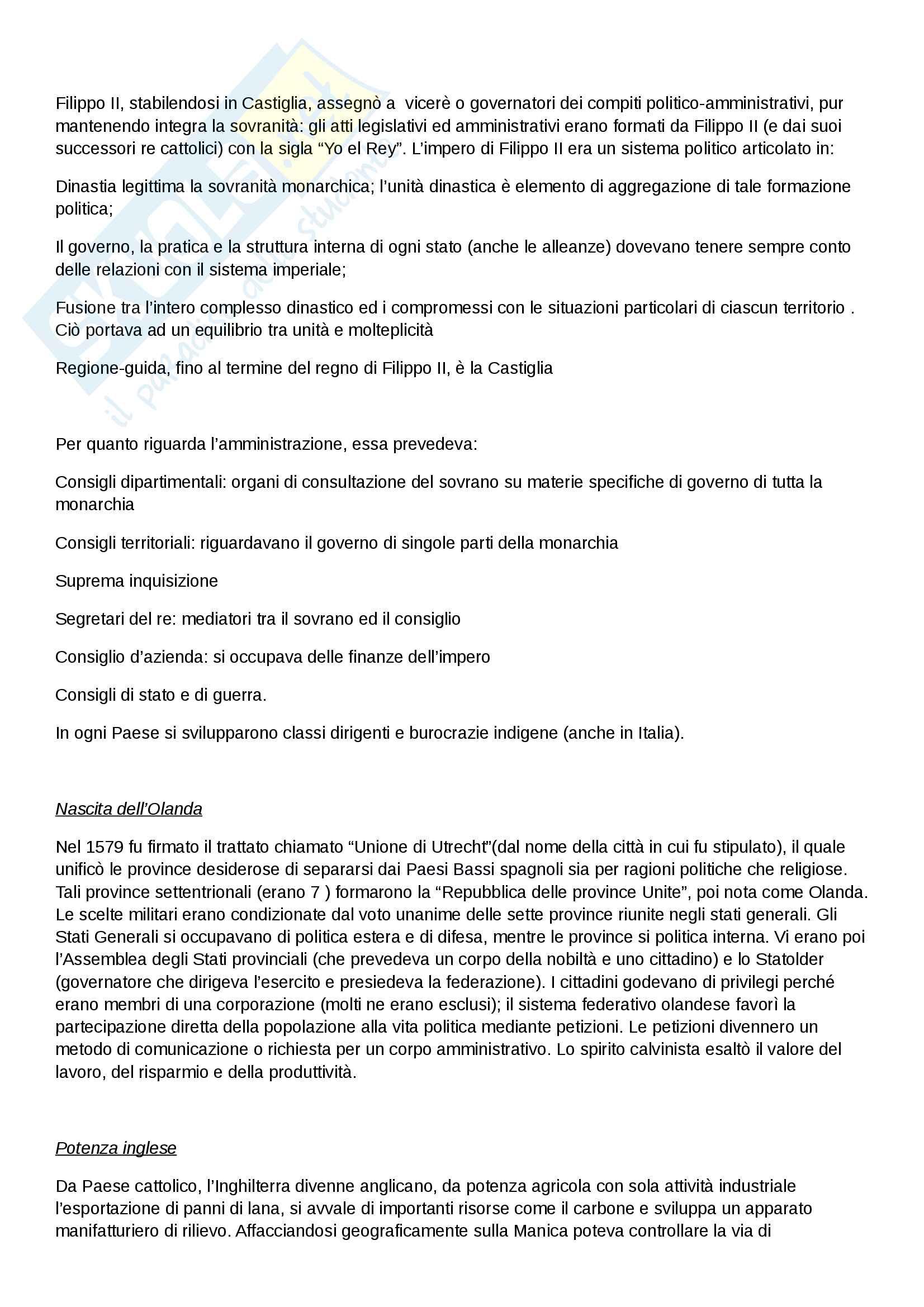"""Riassunto esame di Storia moderna, prof. Migliorini, libro consigliato """"Le vie della modernità"""" di Aurelio Musi, ed. Sansoni Pag. 16"""