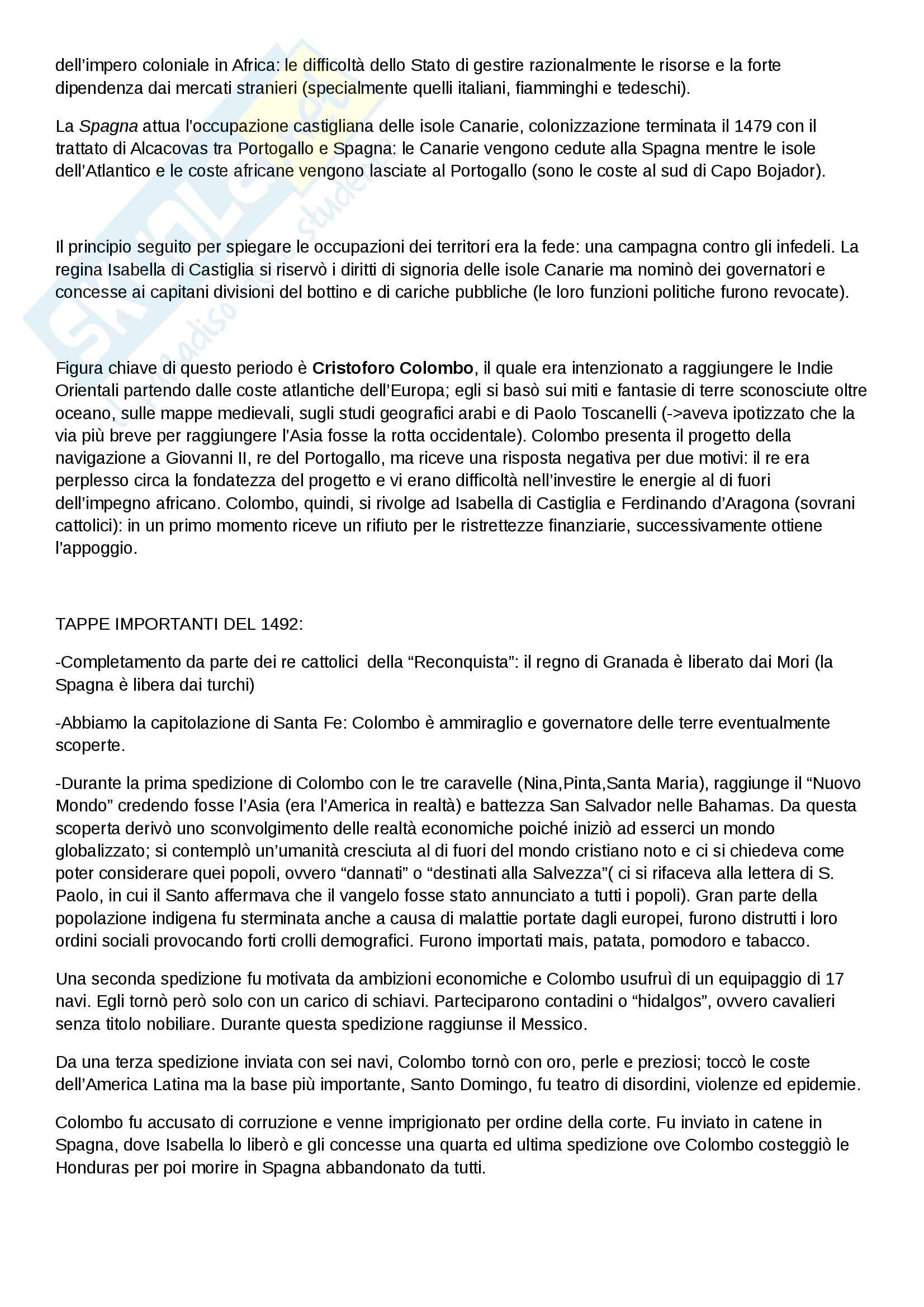"""Riassunto esame di Storia moderna, prof. Migliorini, libro consigliato """"Le vie della modernità"""" di Aurelio Musi, ed. Sansoni Pag. 2"""