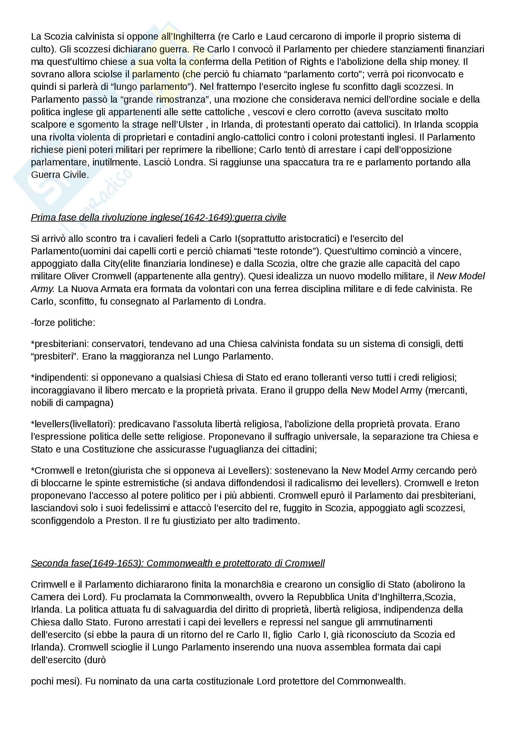 """Riassunto esame di Storia moderna, prof. Migliorini, libro consigliato """"Le vie della modernità"""" di Aurelio Musi, ed. Sansoni Pag. 26"""