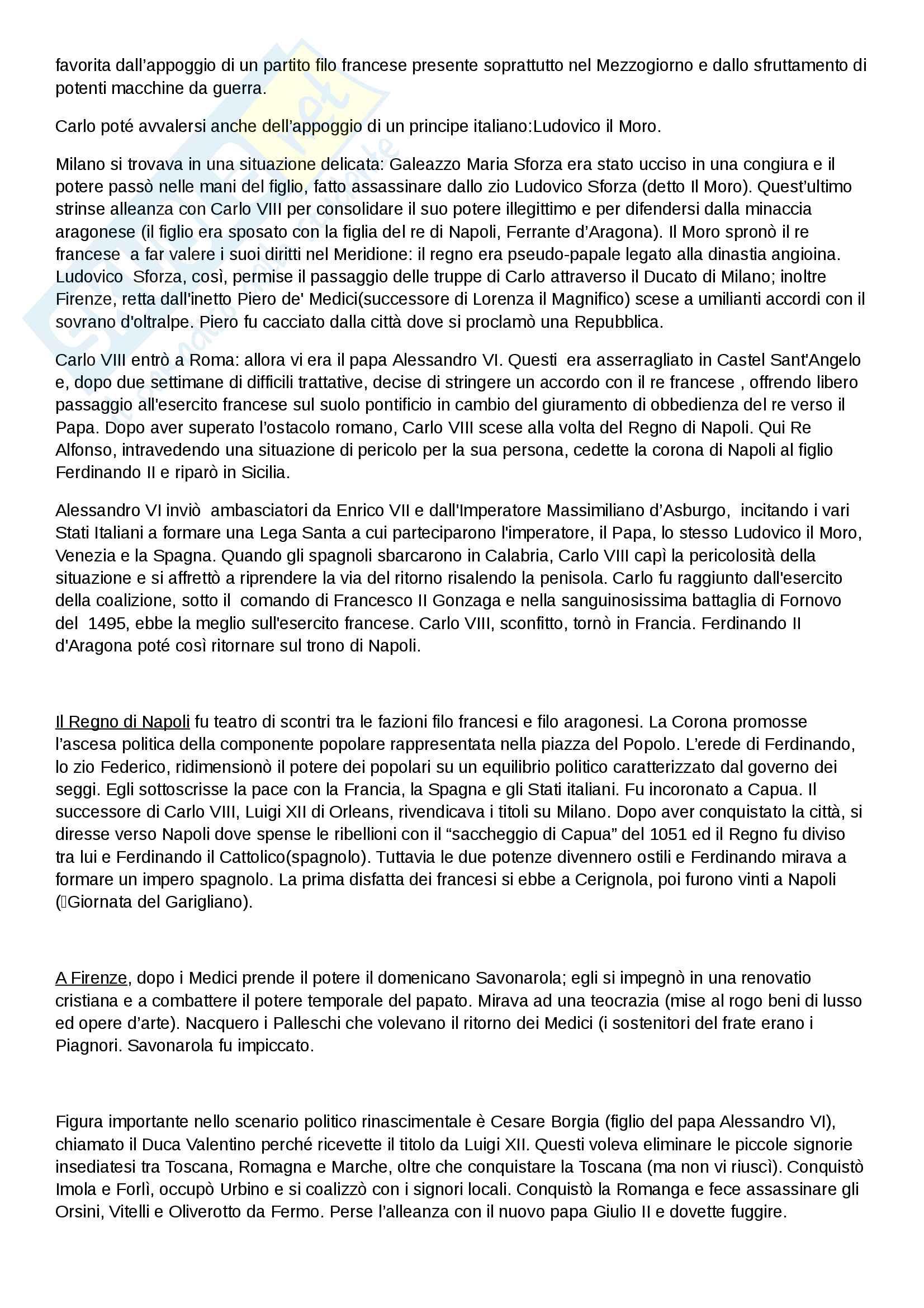 """Riassunto esame di Storia moderna, prof. Migliorini, libro consigliato """"Le vie della modernità"""" di Aurelio Musi, ed. Sansoni Pag. 6"""