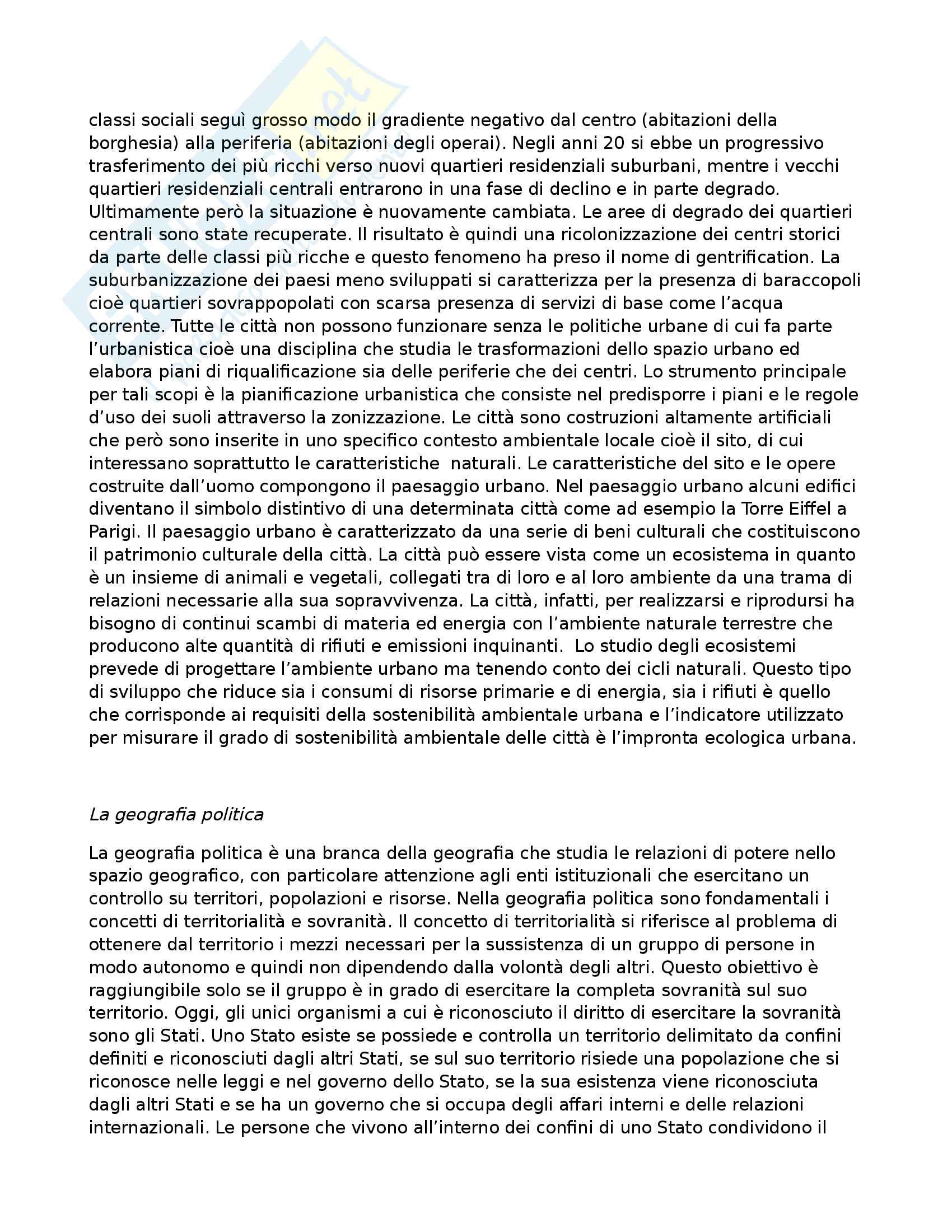 Riassunto esame Geografia umana, prof. Guadagno, libro consigliato 'Geografia umana,Un approccio visuale', Greiner, Dematteis,Lanza Pag. 21