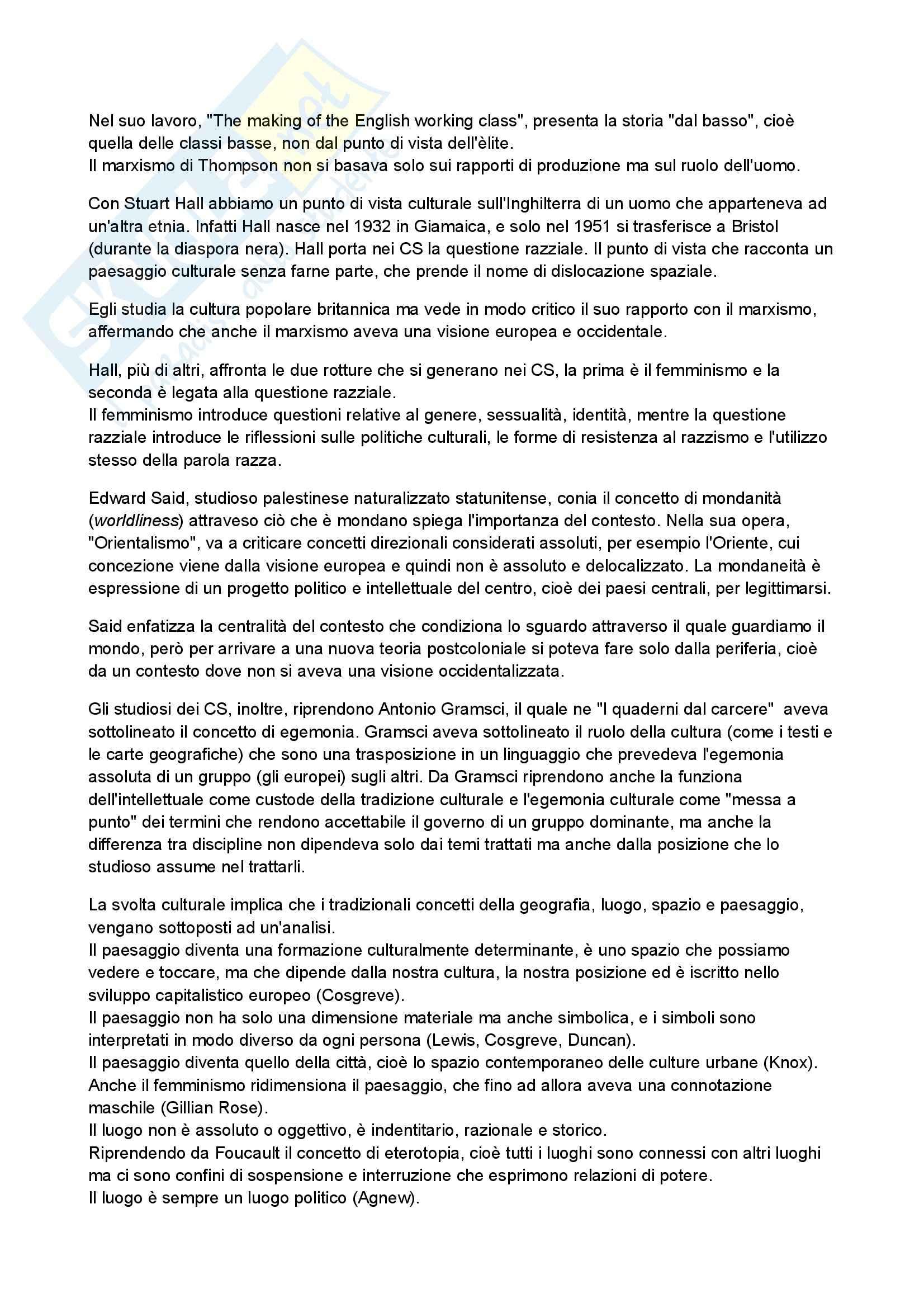 Riassunto esame geografia, prof. D'Alessandro, libro consigliato Manuale di Geografia Culturale, Bonazzi Pag. 11