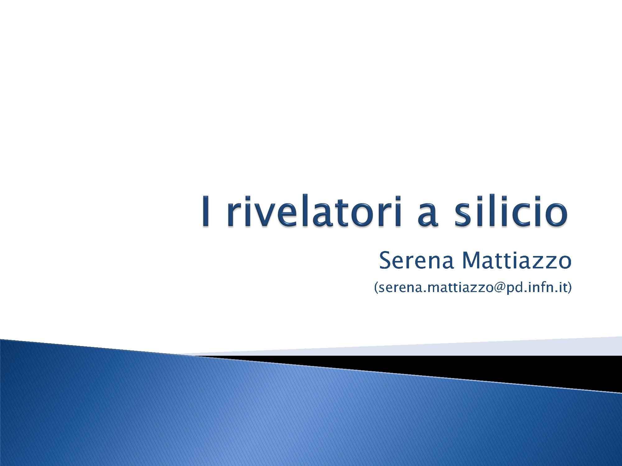 Rivelatori a silicio