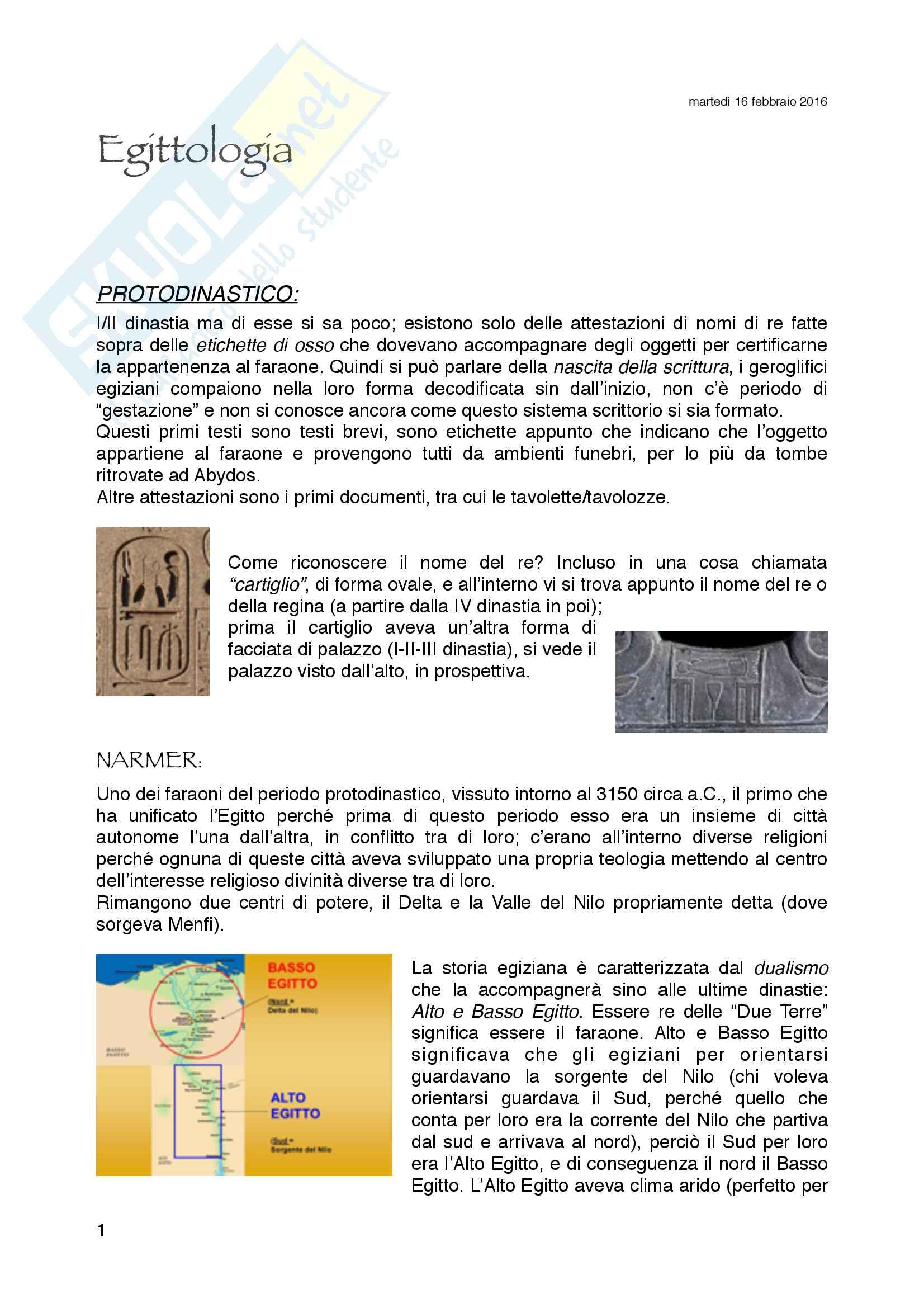 Riassunto esame e appunti esame egittologia, prof P. Gallo