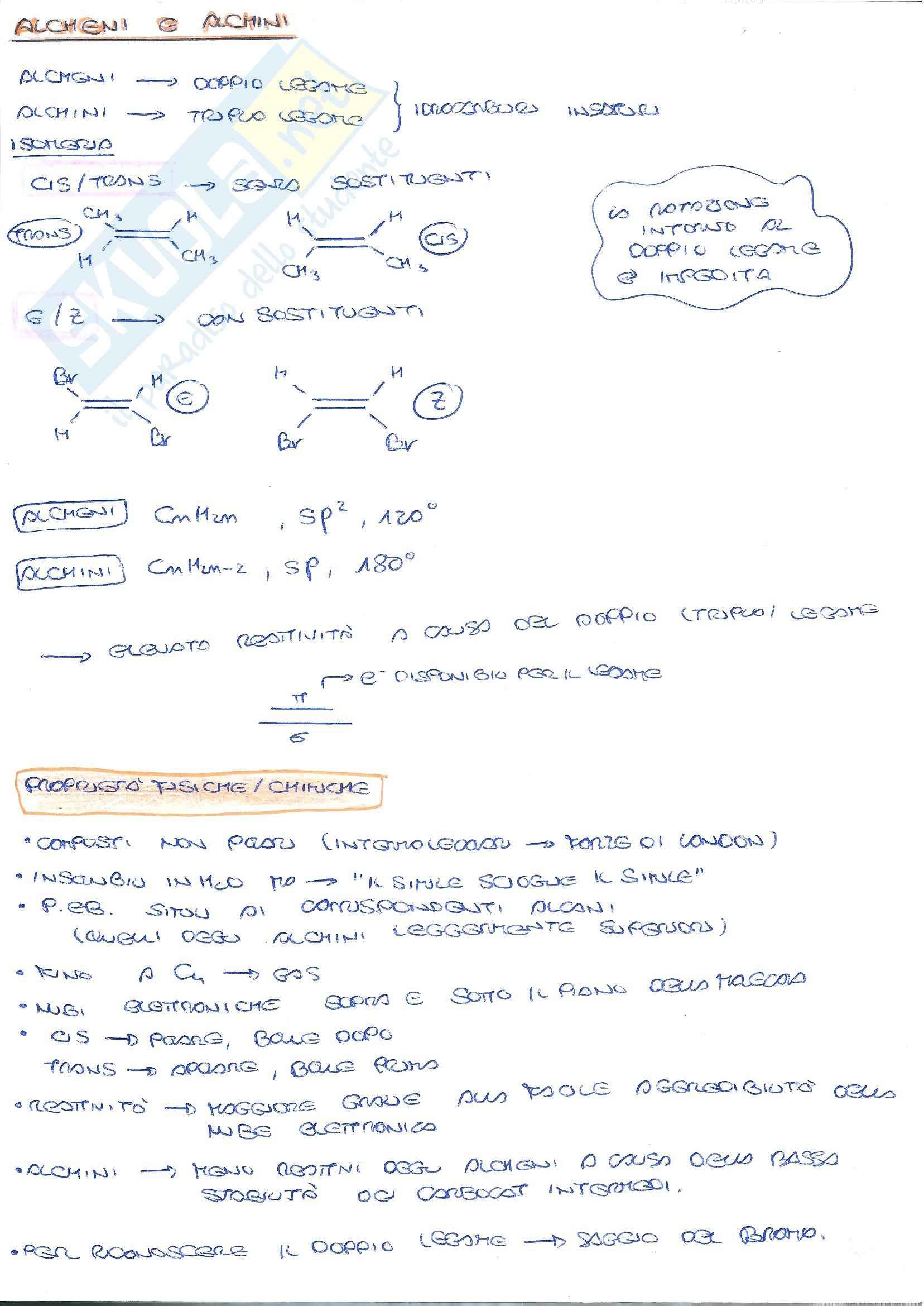Chimica Organica - reazioni: alcheni ed alchini