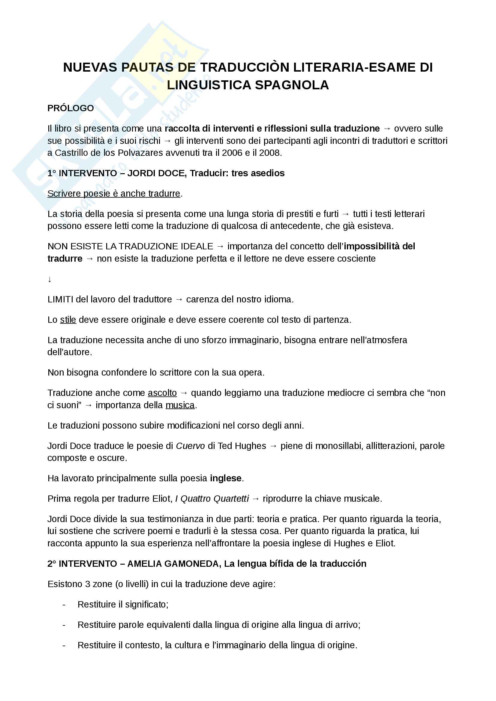 Riassunto esame Linguistica spagnola 1, Esame Martinez, libro consigliato: Nuevas pautas de traduccion literaria di J. G. Montero