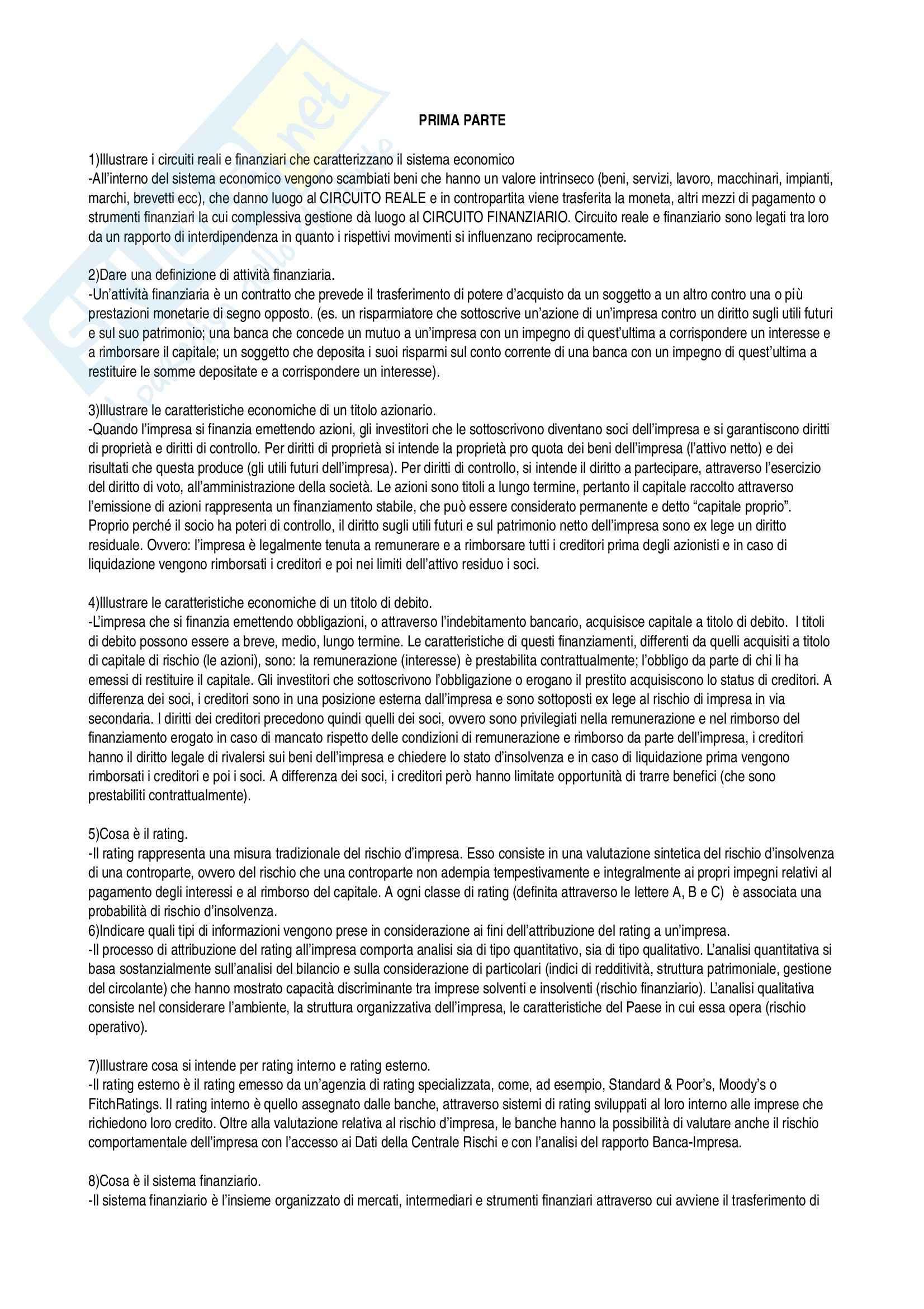 Bilancio e Analisi Finanziaria - risposte