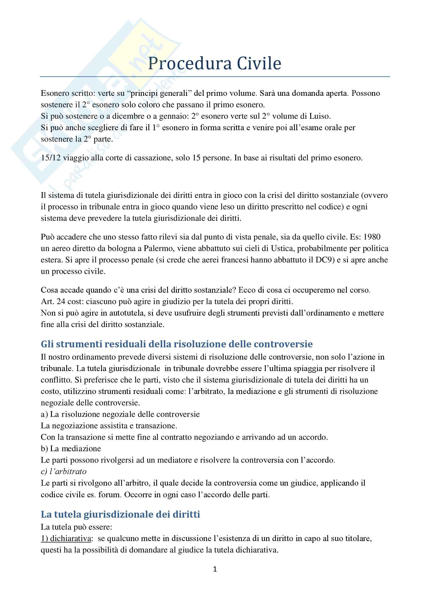 Appunti di Procedura Civile I D'Alessandro per esoneri. Unito