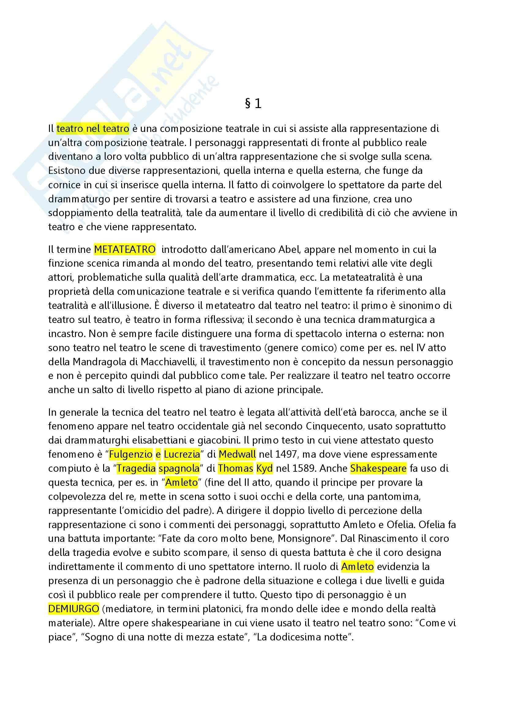 Riassunto esame Storia teatro, prof. Cambiaghi, libro consigliato Le commedie in commedia, Cambiaghi
