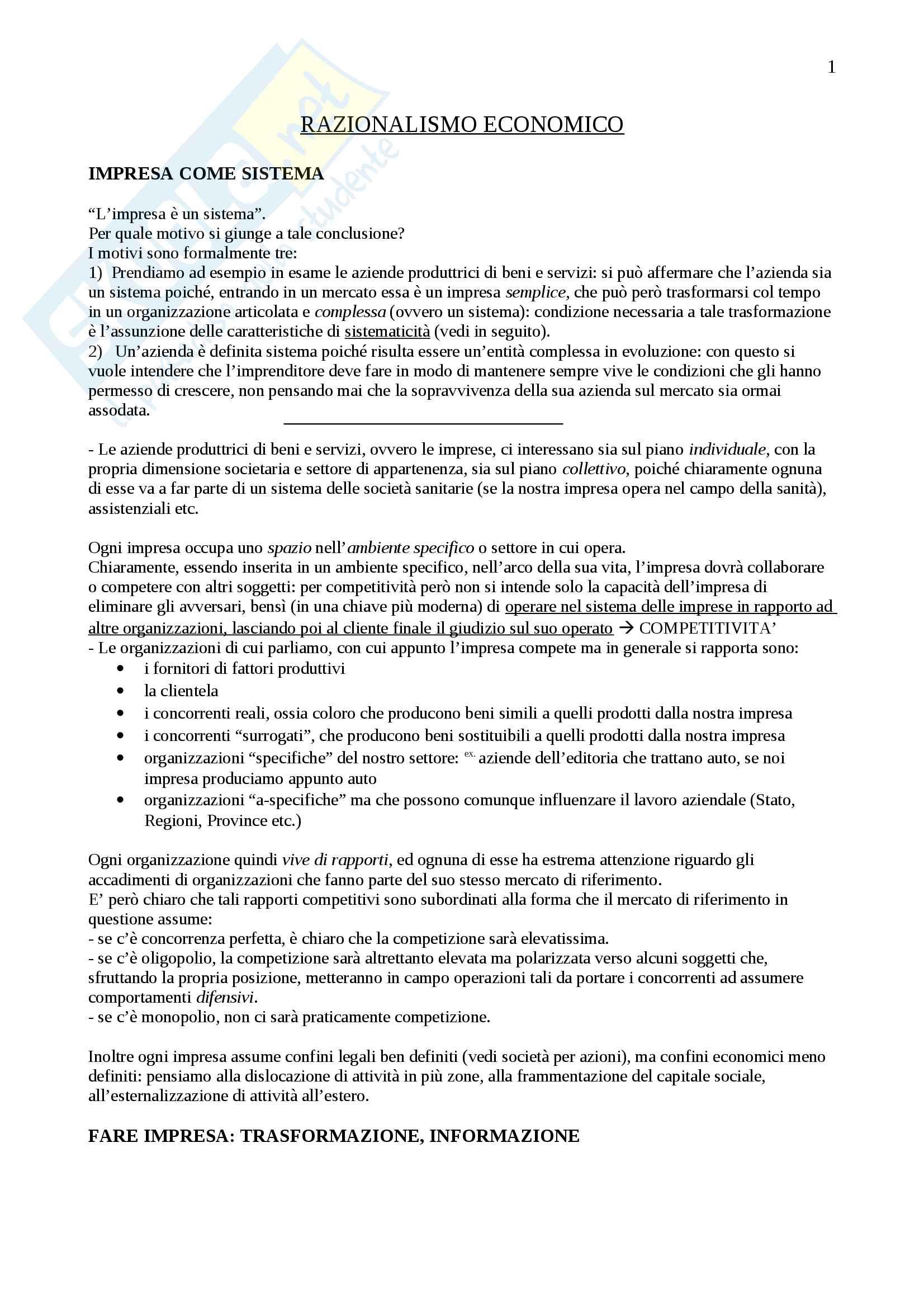Appunti Economia e gestione delle imprese, Prof. Vagnani