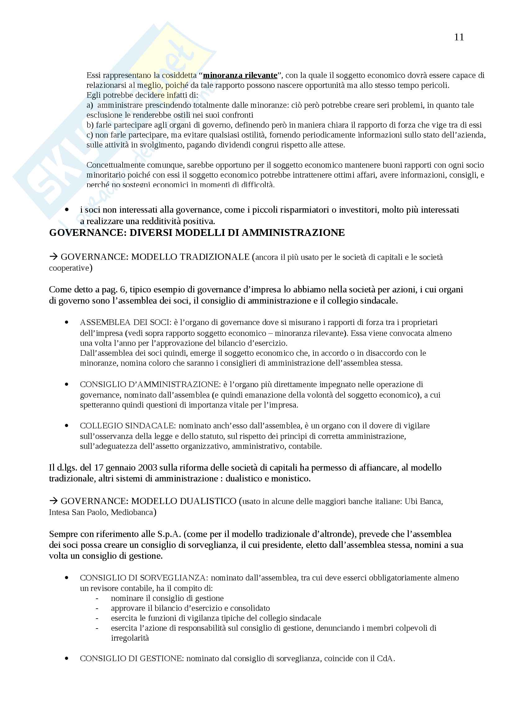 Appunti Economia e gestione delle imprese, Prof. Vagnani Pag. 11