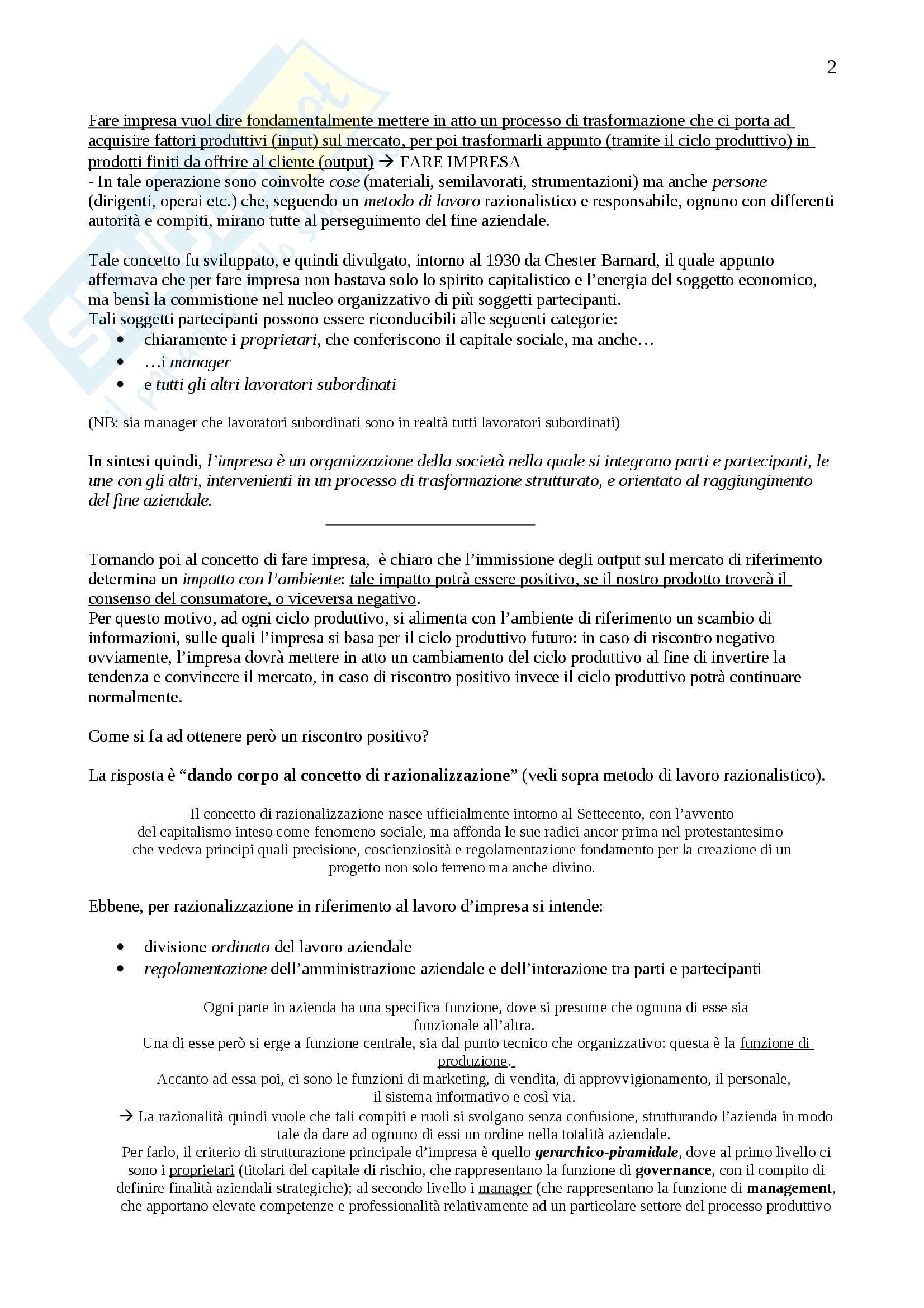 Appunti Economia e gestione delle imprese, Prof. Vagnani Pag. 2