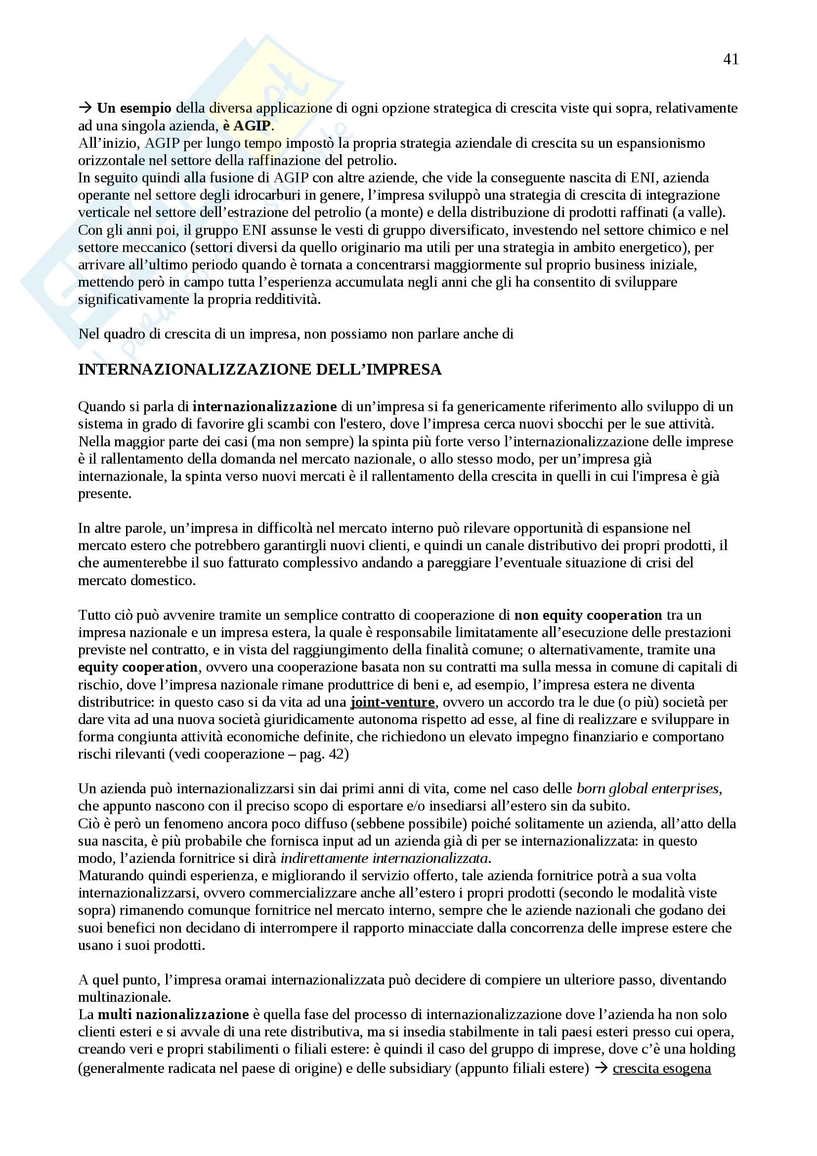 Appunti Economia e gestione delle imprese, Prof. Vagnani Pag. 41