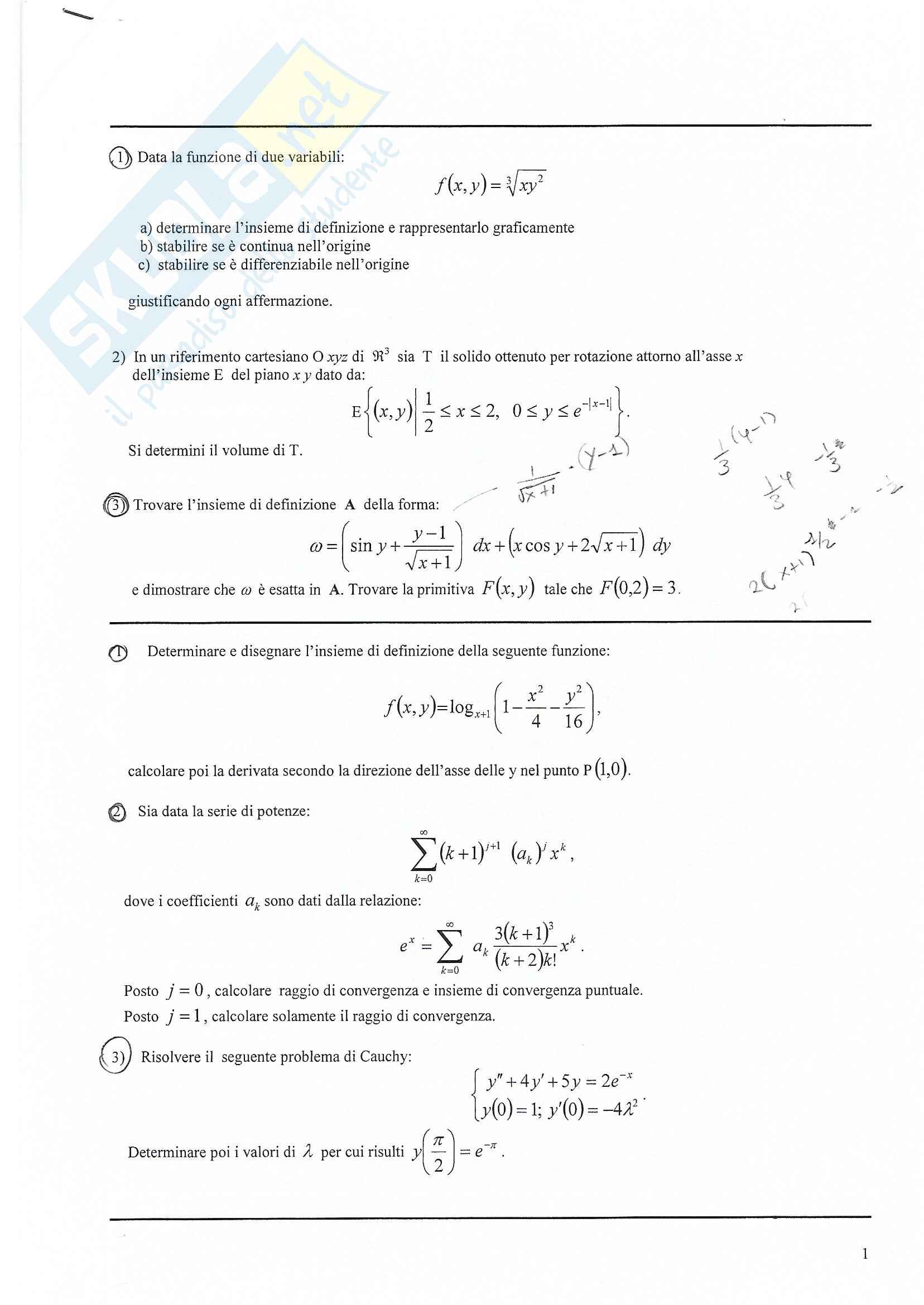 Analisi Matematica 2 Testi d'esame