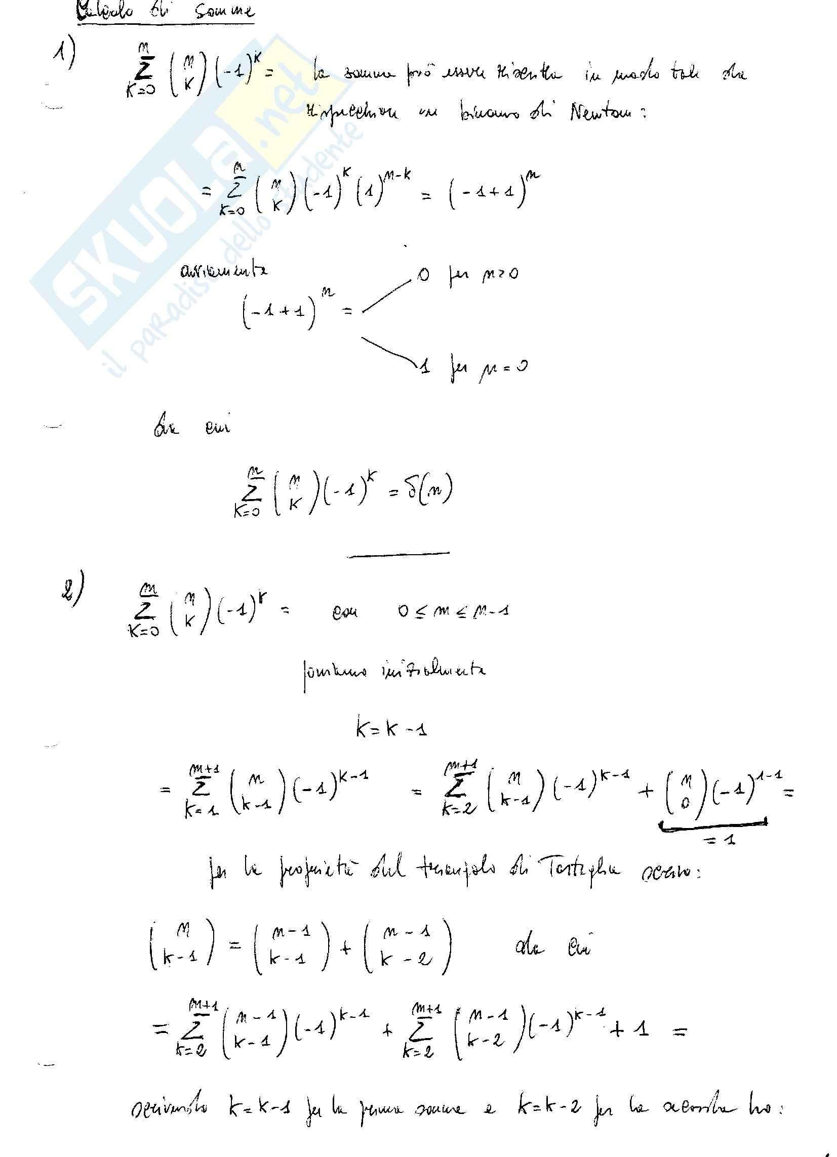 Analisi matematica - il calcolo di somme