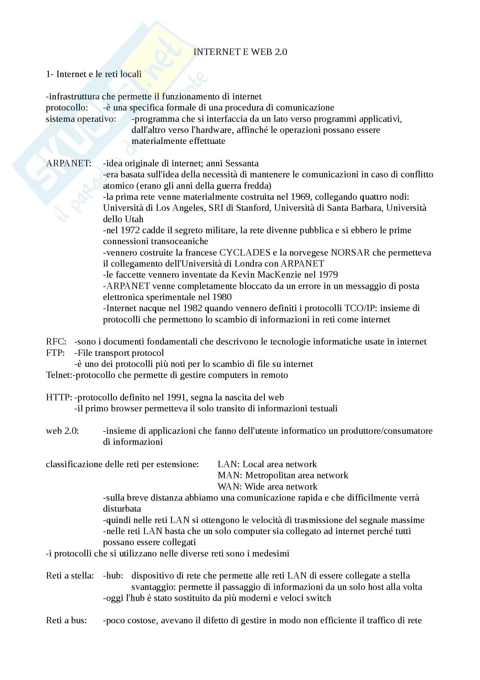 Riassunto esame Comunicazione digitale, prof. Ferrari, libro consigliato Web 2.0, Lafuente, Righi
