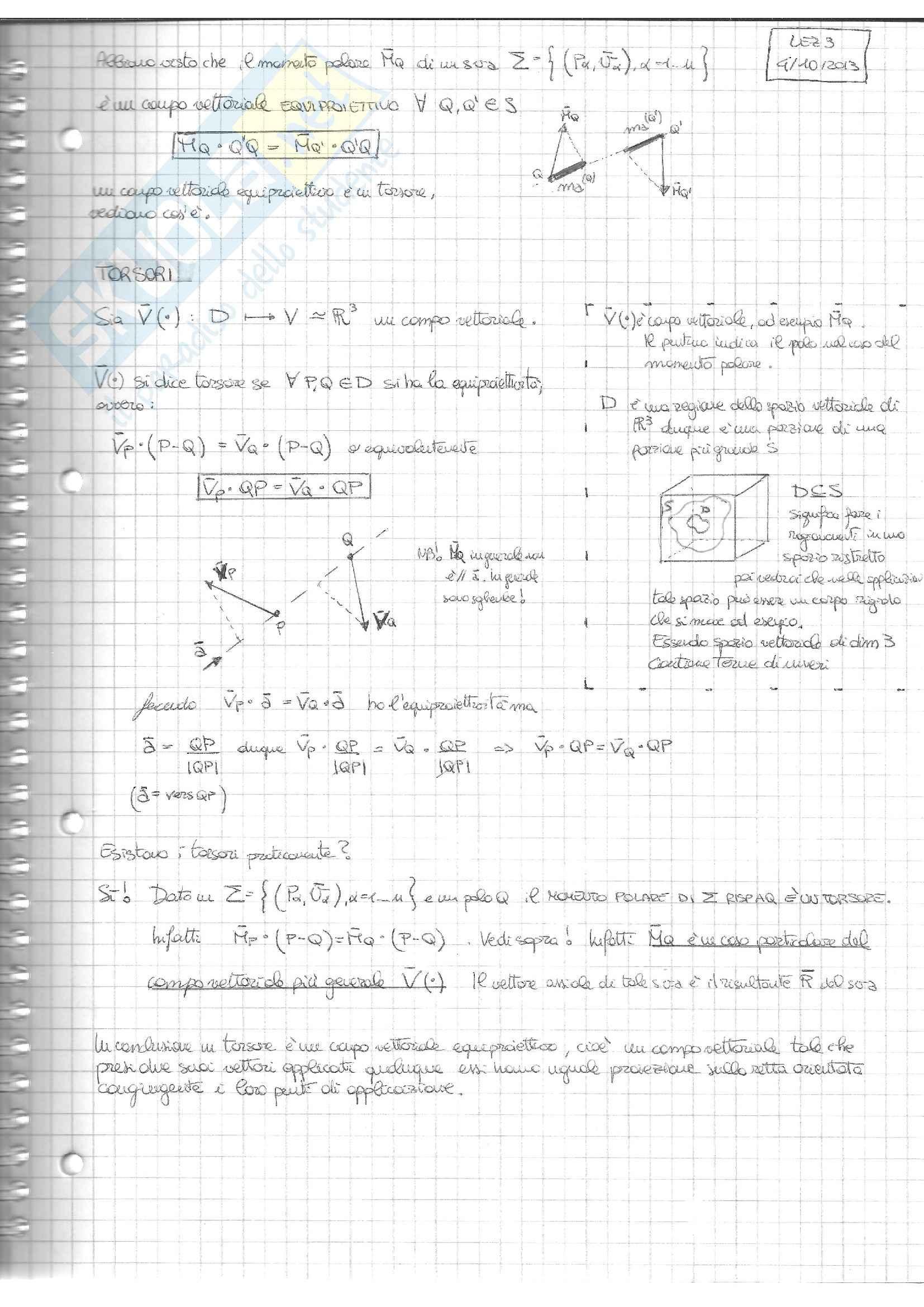 Torsori  e riducibilità ed equivalenza, Meccanica razionale
