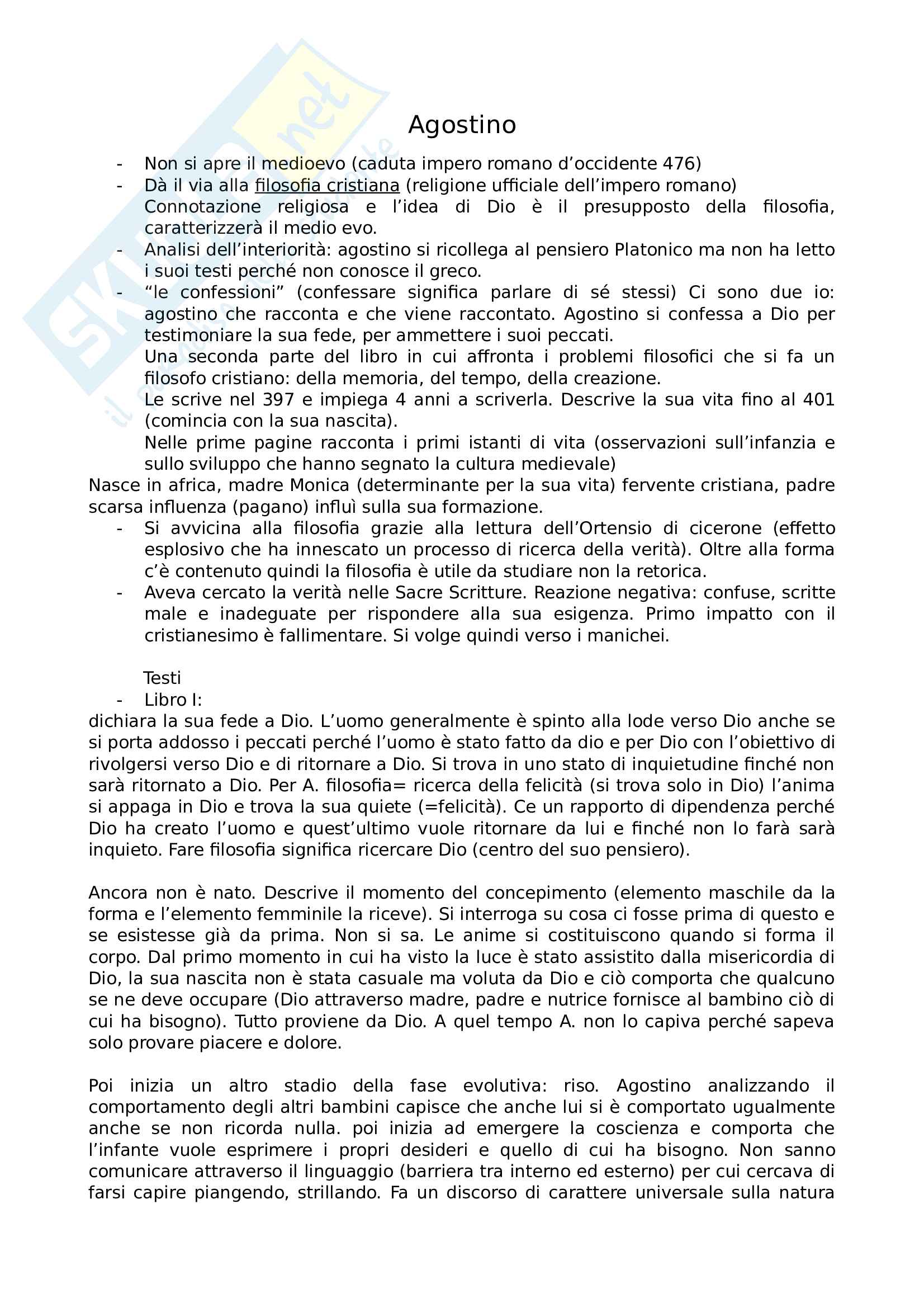Agostino - Appunti completi