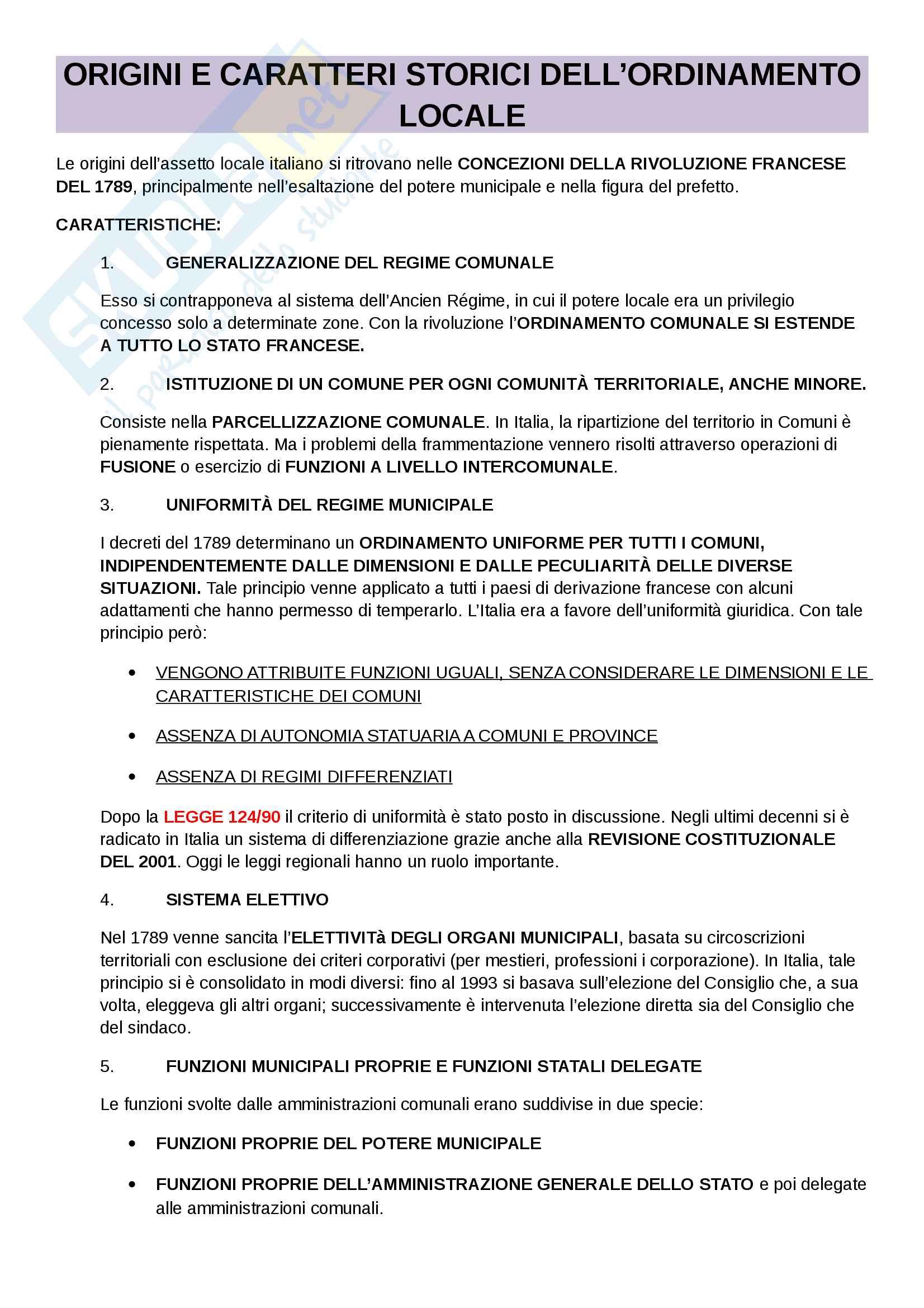 Diritto degli Enti locali prof. Maria Paola Guerra. Appunti lezioni