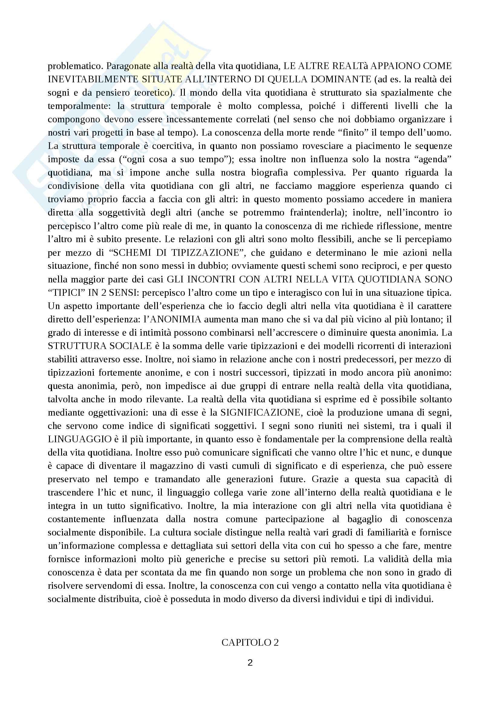 Riassunto esame di sociologia generale, prof. Marzo, libro consigliato La realtà come costruzione sociale, Berger Luckmann Pag. 2