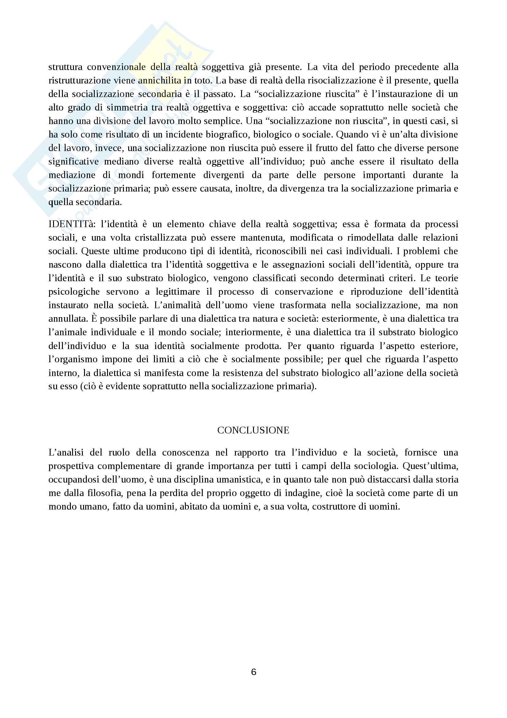 Riassunto esame di sociologia generale, prof. Marzo, libro consigliato La realtà come costruzione sociale, Berger Luckmann Pag. 6