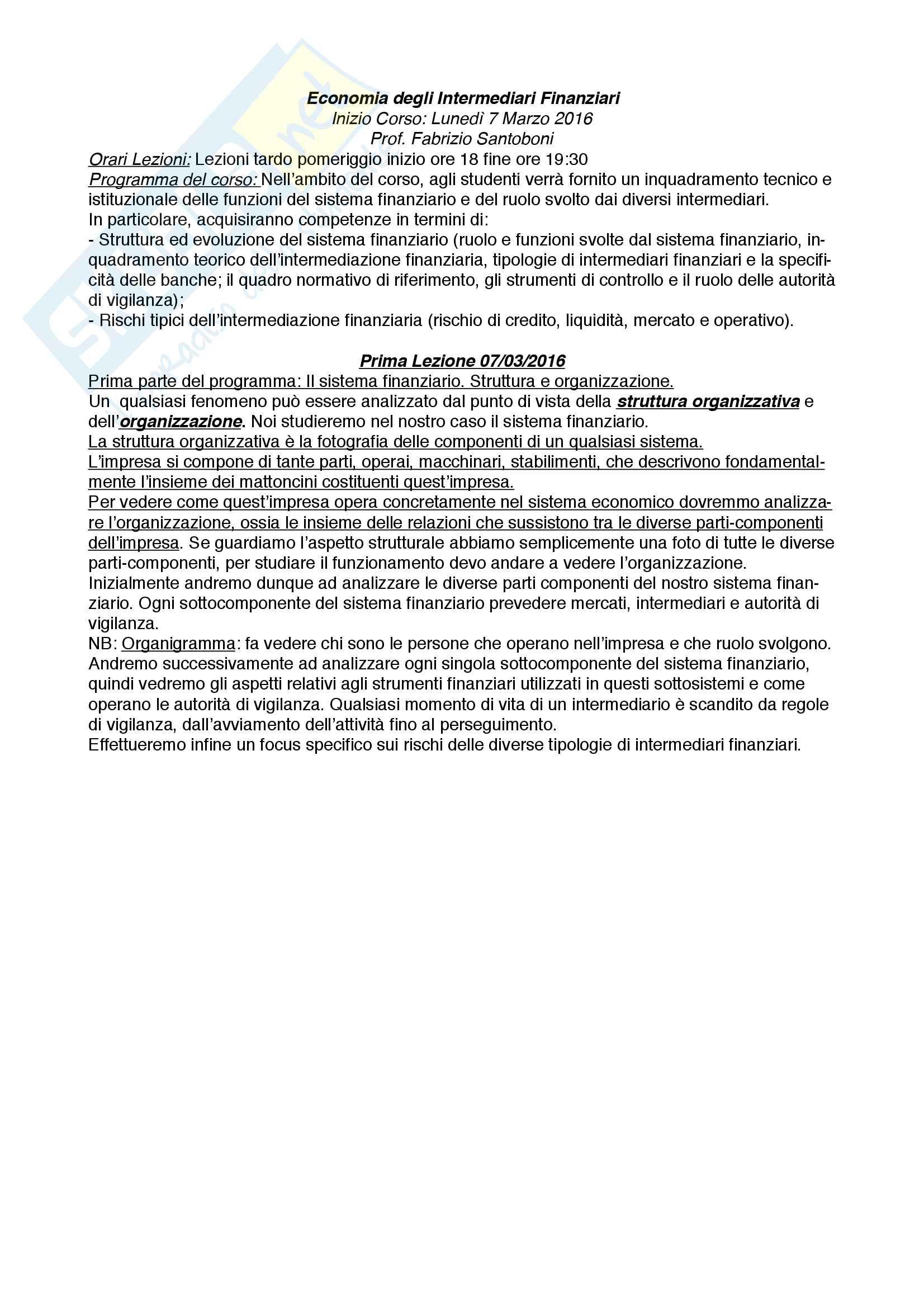 appunto F. Santoboni Economia degli intermediari finanziari