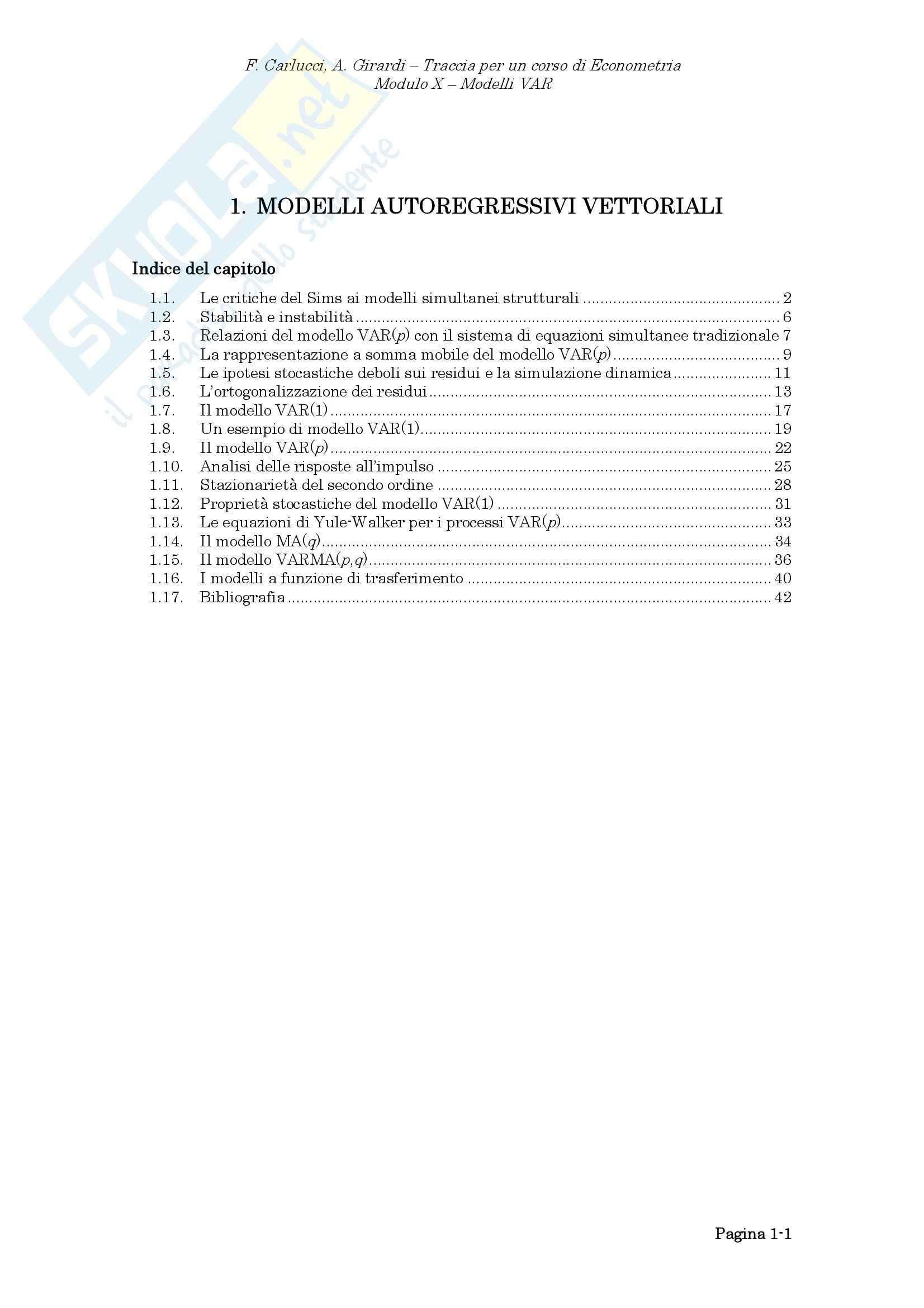 Econometria - i modelli autoregressivi vettoriali