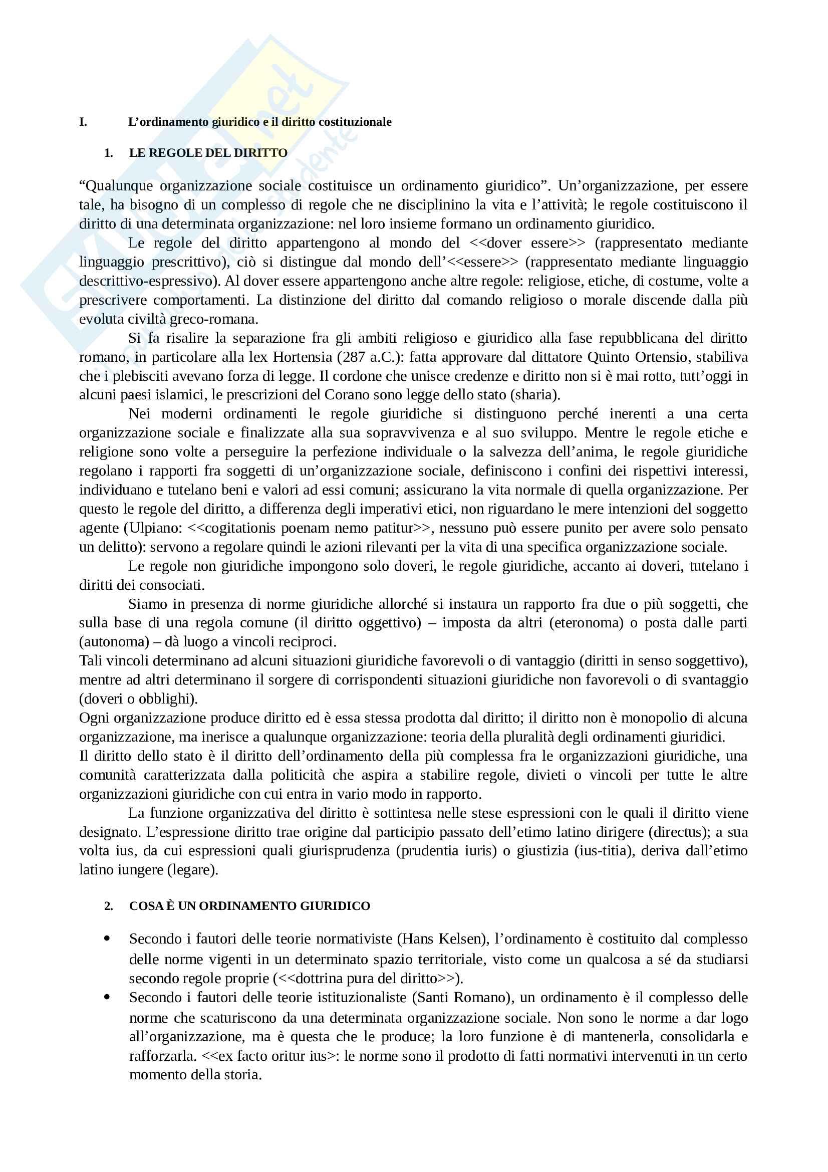 Riassunto esame Corso di Diritto Costituzionale, prof. Morrone, libro consigliato A. Barbera - C. Fusaro