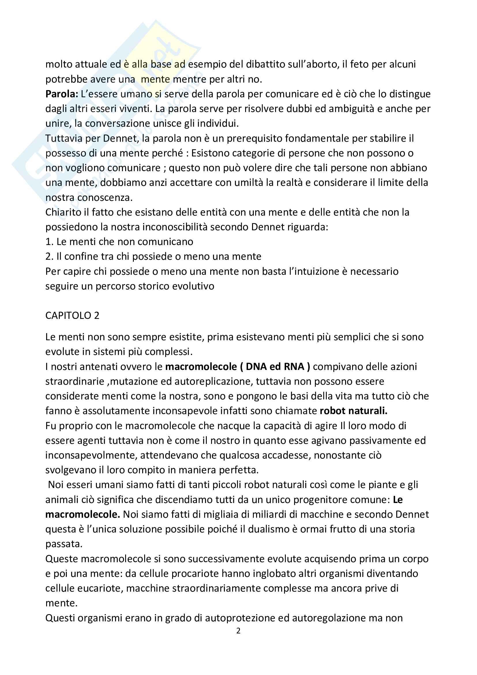Riassunto esame filosofia teoretica, prof la Rocca, libro consigliato La mente le menti, Dennet Pag. 2