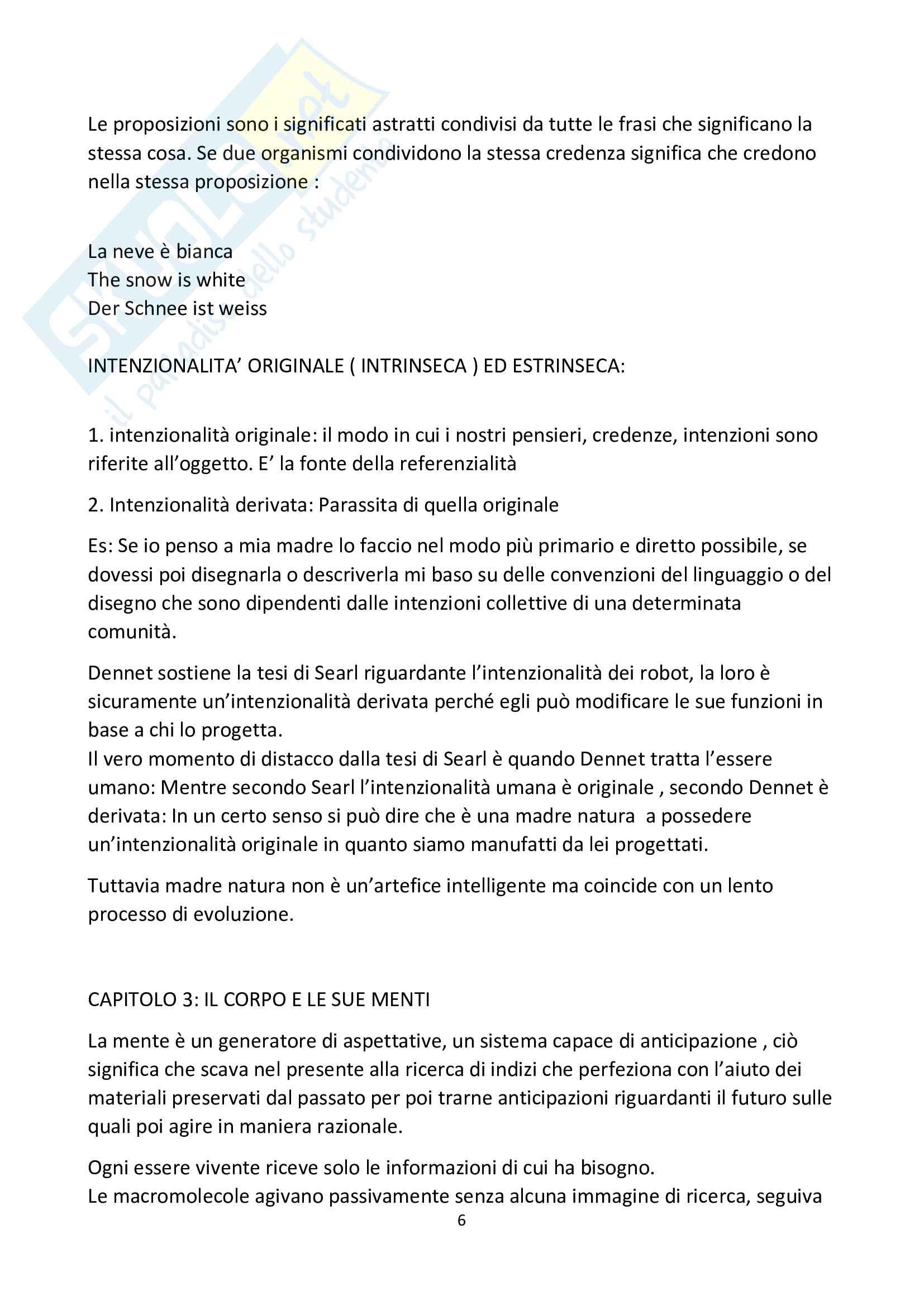 Riassunto esame filosofia teoretica, prof la Rocca, libro consigliato La mente le menti, Dennet Pag. 6