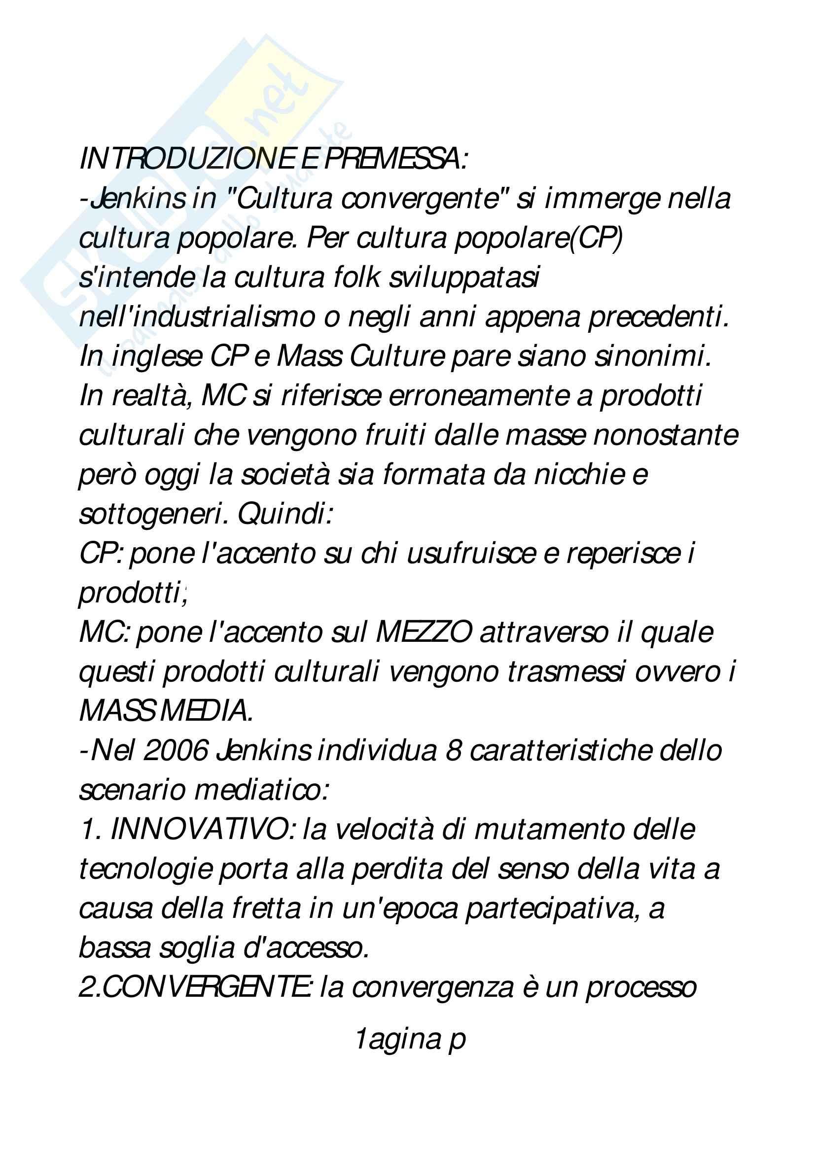 Riassunto esame Teorie e tecniche dei nuovi media, prof. Monaci, libro consigliato Cultura convergente, Jenkins
