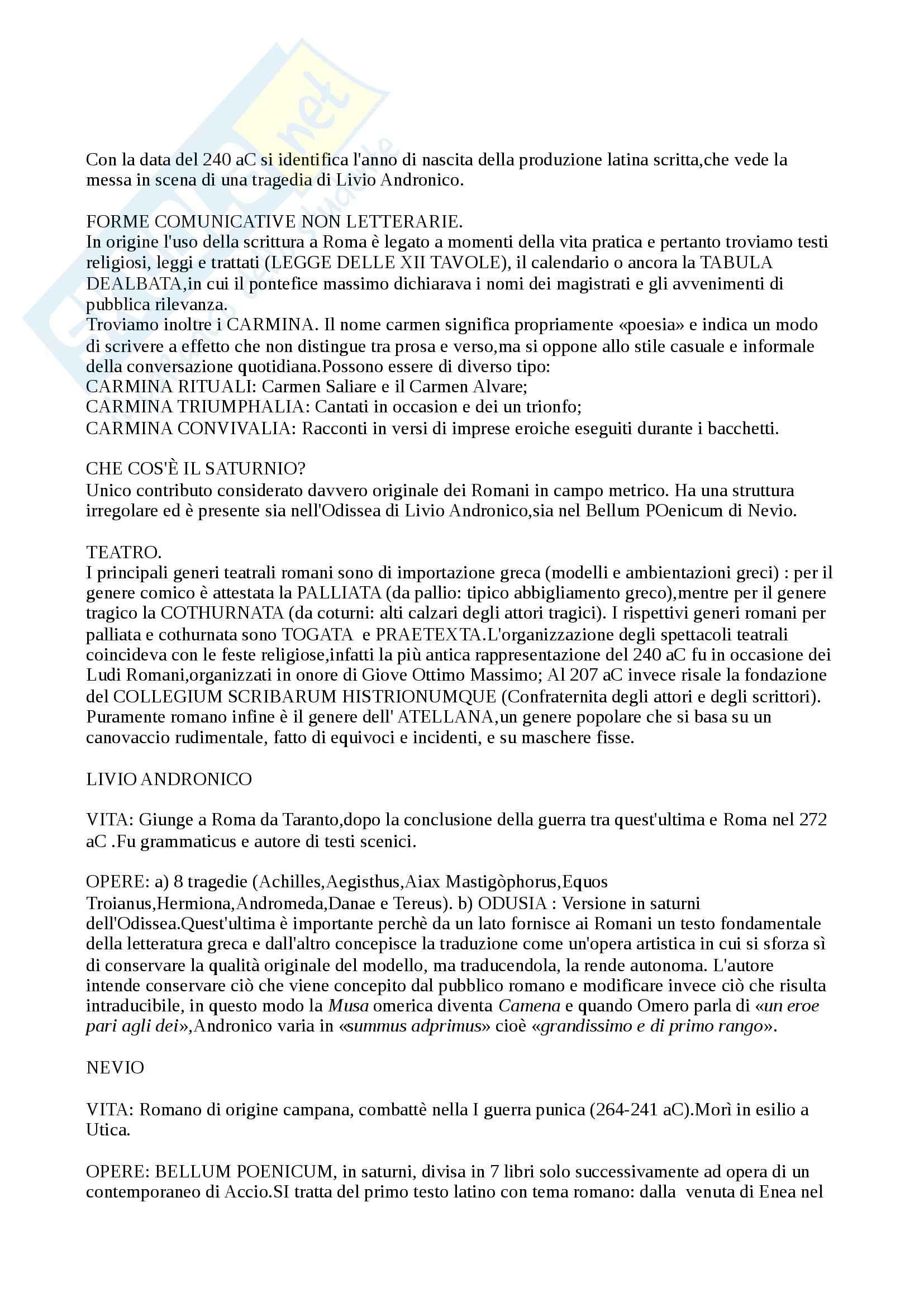 Riassunto esame Lingua e Letteratura latina, prof. De Nonno, libro consigliato Manuale storico di Letteratura latina, Conte