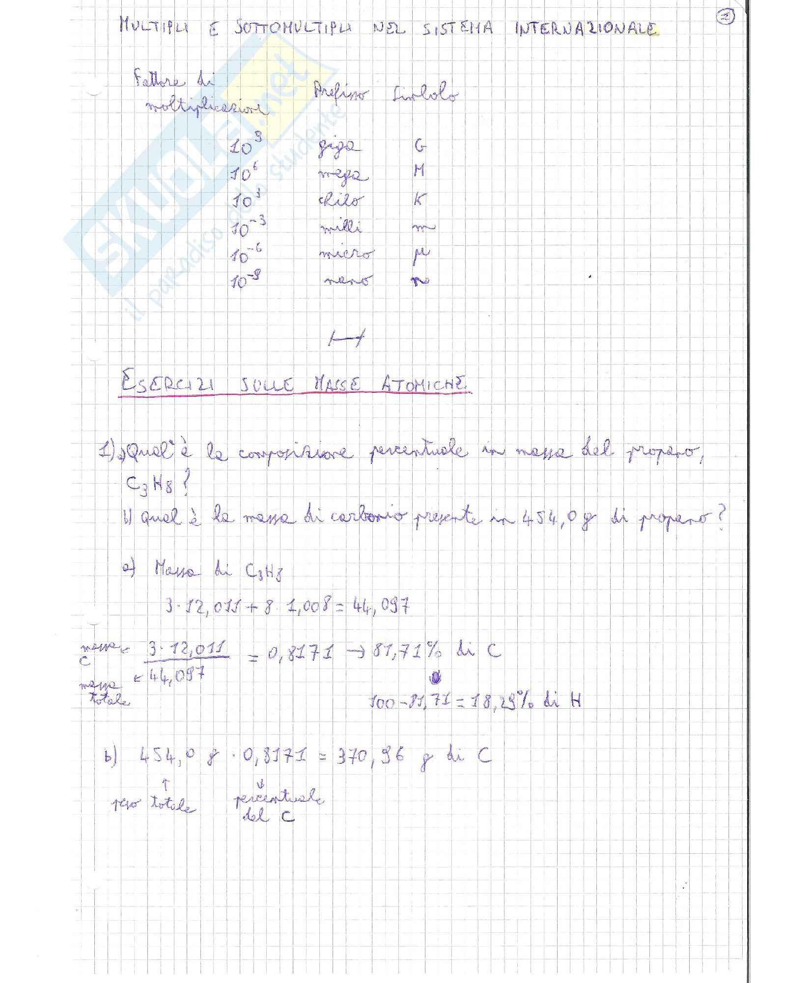 Teoria ed esercizi svolti, Chimica